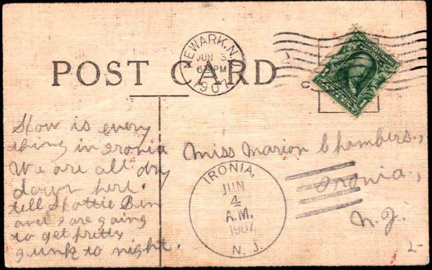 from the Ironia Post Office,  marked 1907