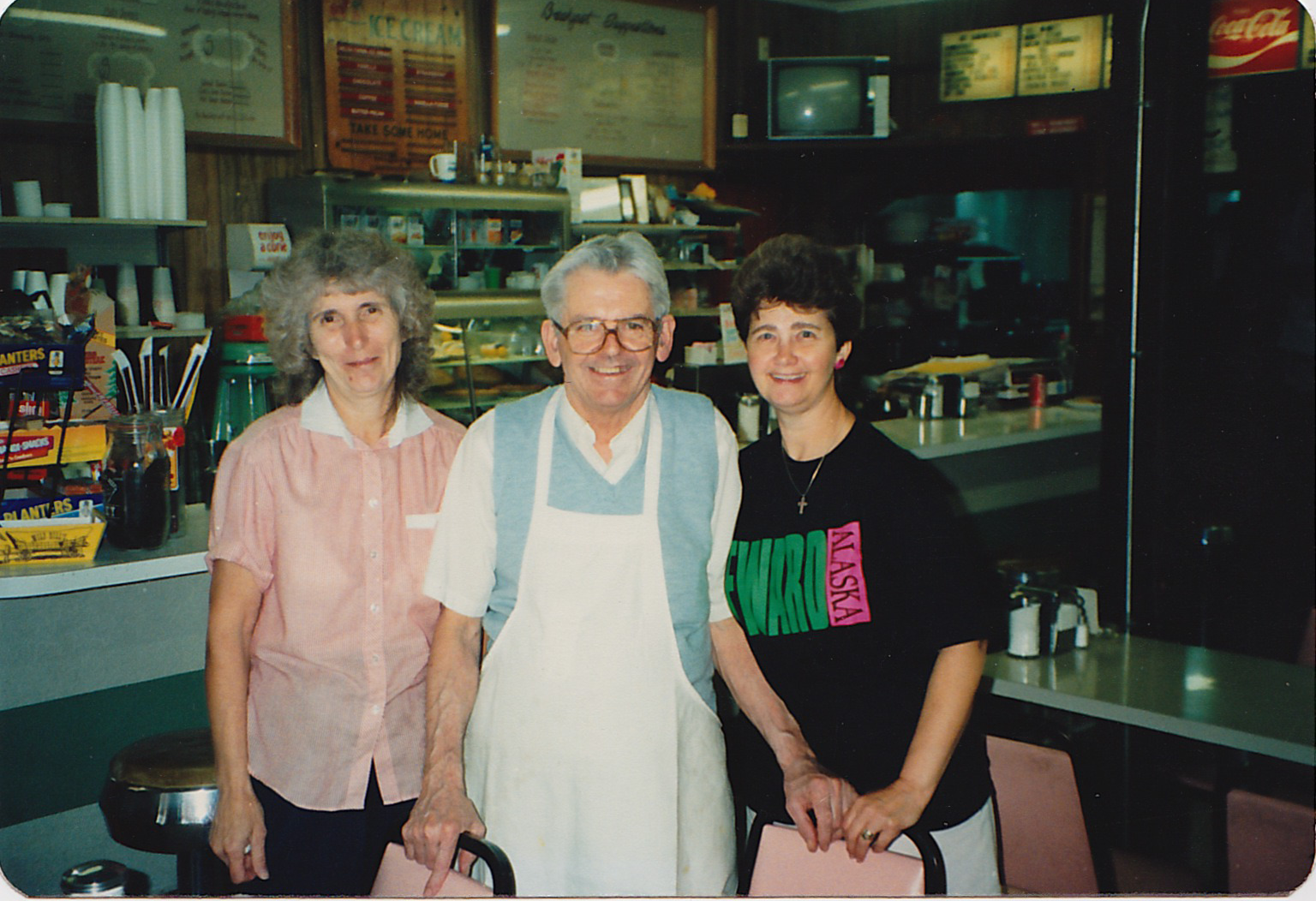 Bill Crowley  (center) , with wife Barbara  (left)  and Nancy Jacobus  (right), circa 1979