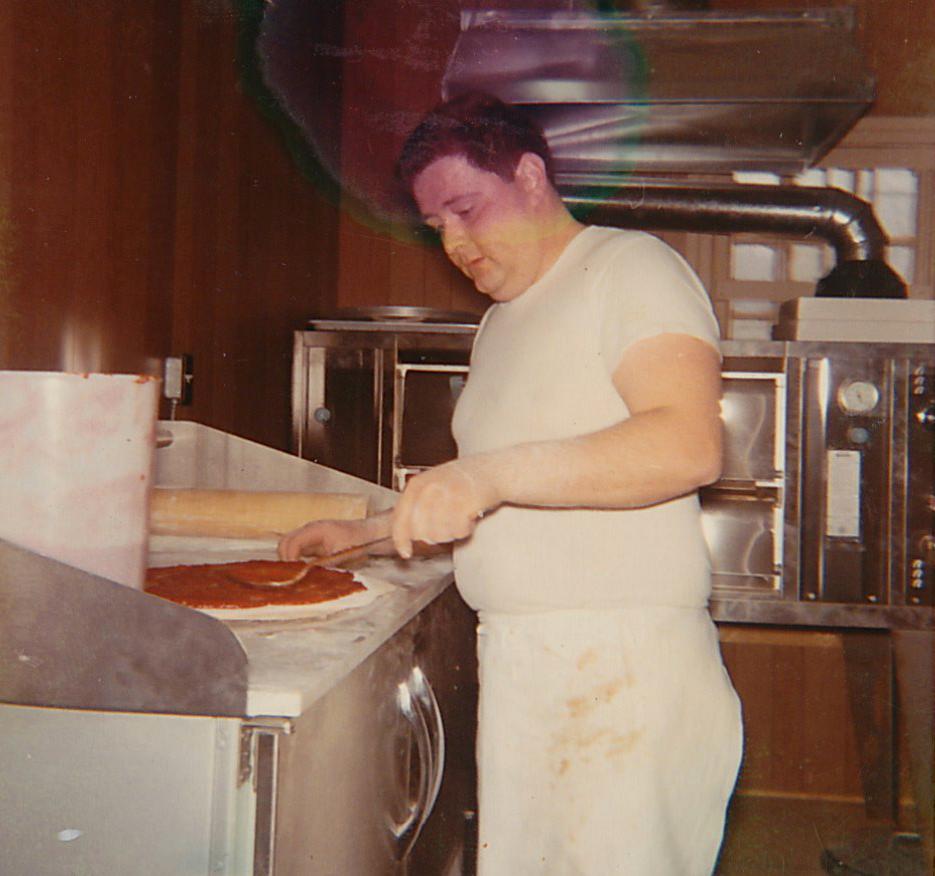 Louie making pizza, circa 1970s