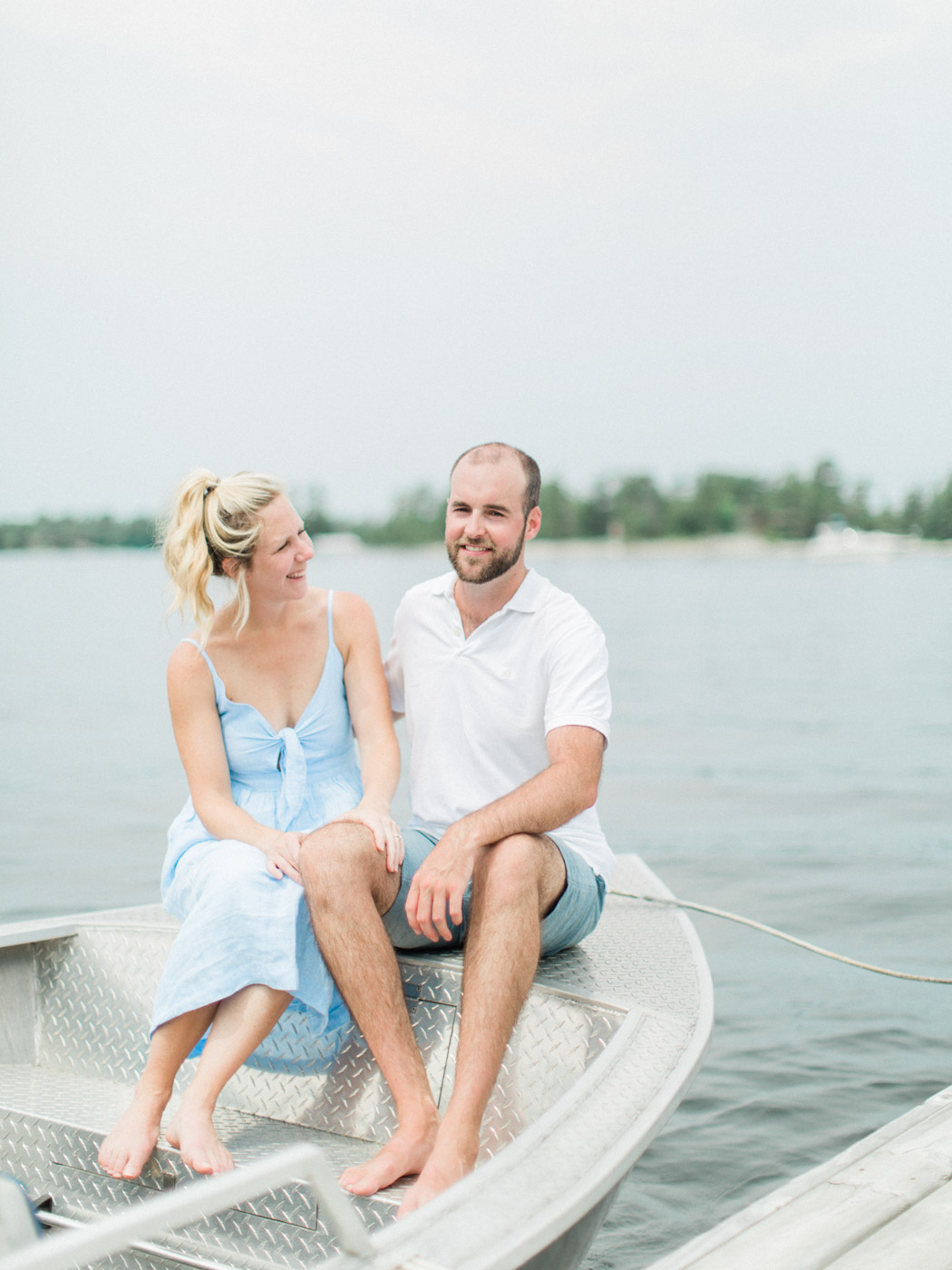 Toronto Wedding Photographer Engagement Photographs at a Georgian Bay Island Cottage