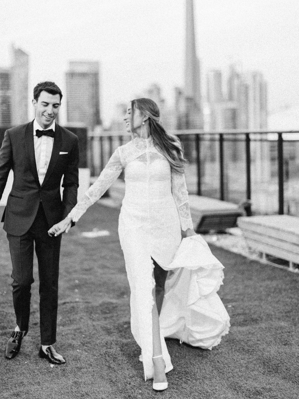 -Candid natural portrait of bride and groom at sunset. Traditional Sunday Jewish wedding.  Captured by downtown Toronto wedding photographer Corynn Fowler Photography.
