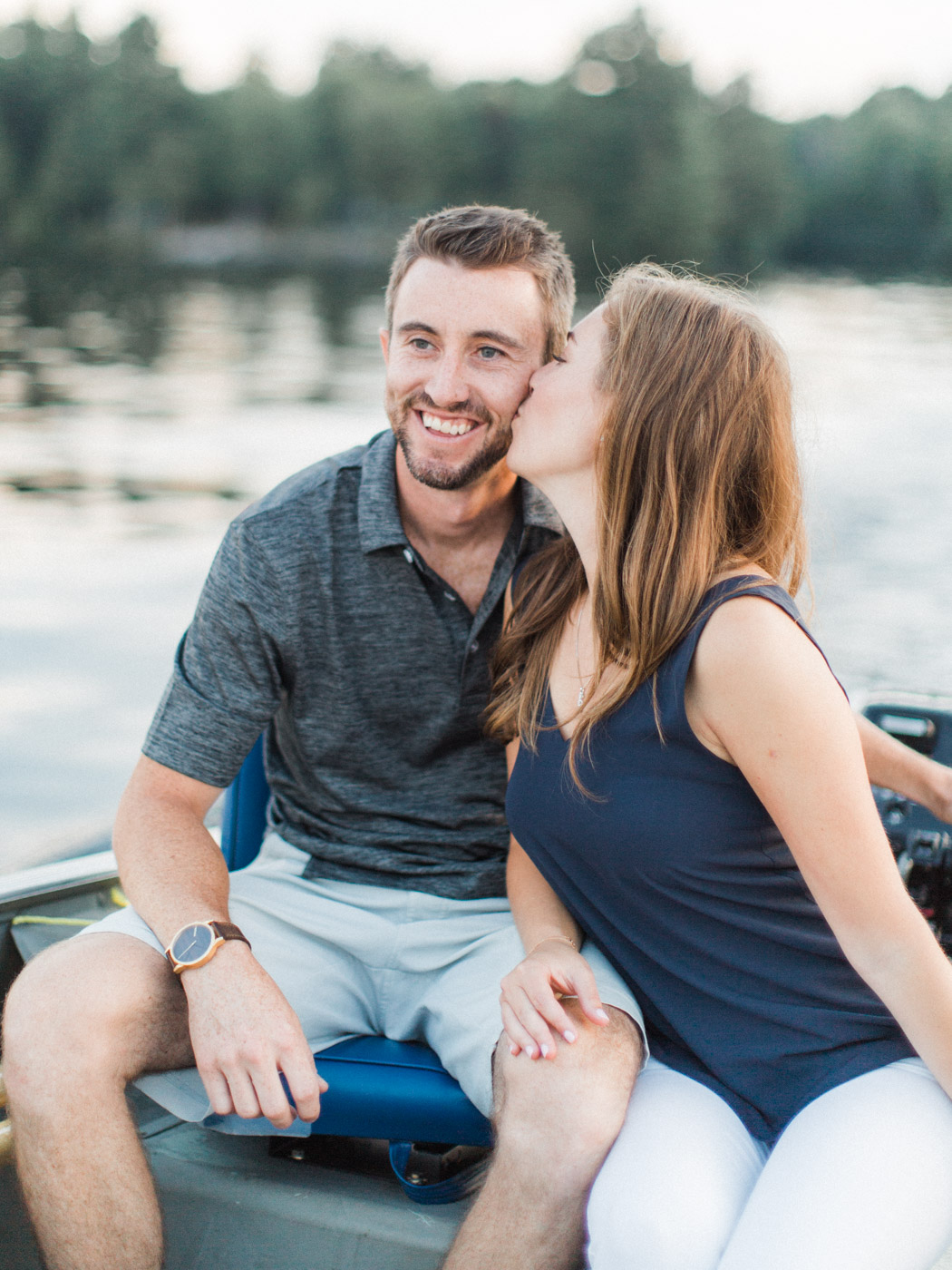 Muskoka engagement session on the dock