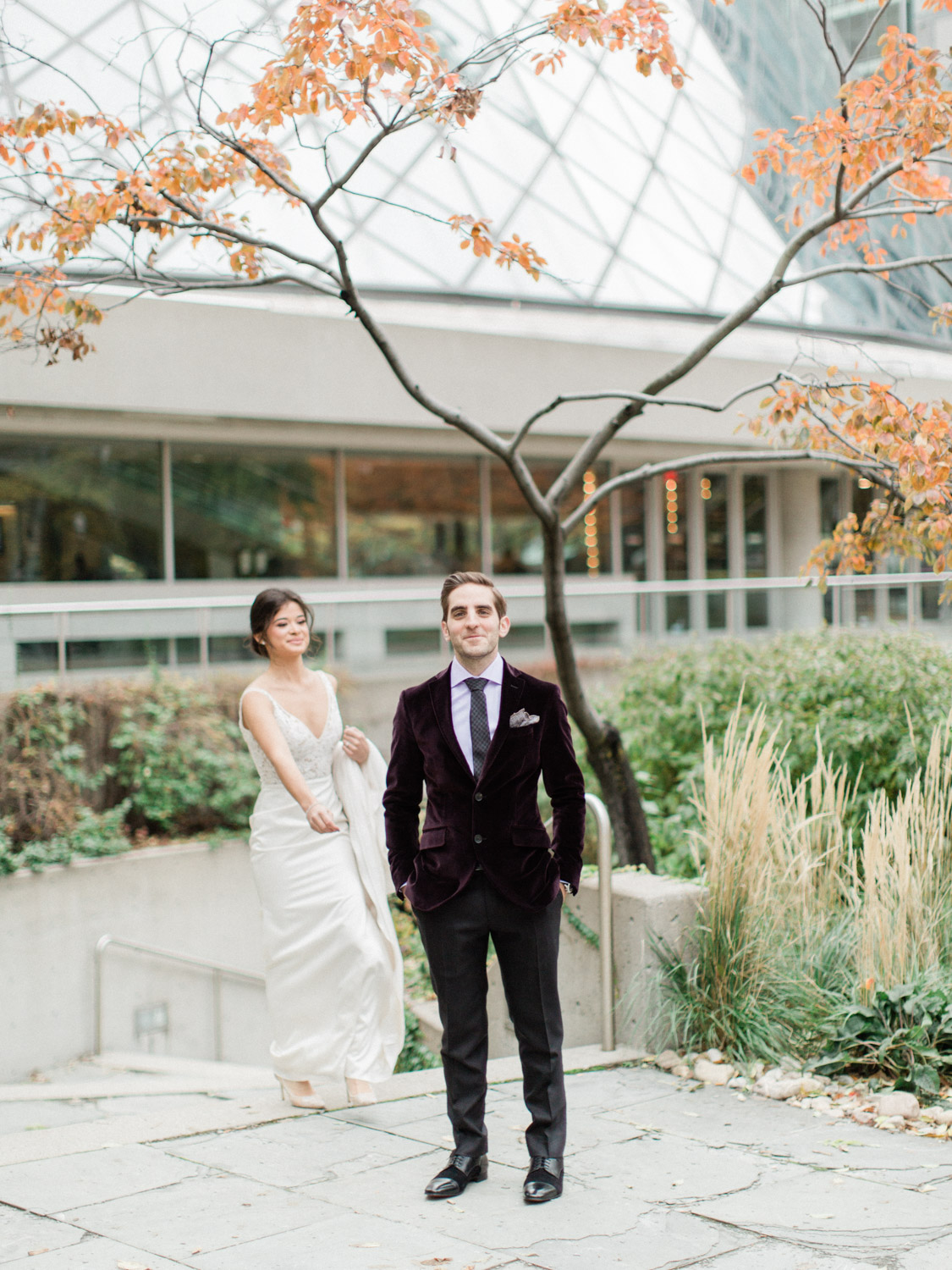 -	Candid photograph of first look between bride and the groom at Italian winter wedding.  Captured by Toronto wedding photographer Corynn Fowler Photography.