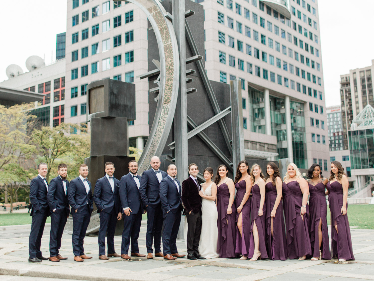 -	Candid natural portrait of the wedding party. Captured by Toronto wedding photographer Corynn Fowler Photography