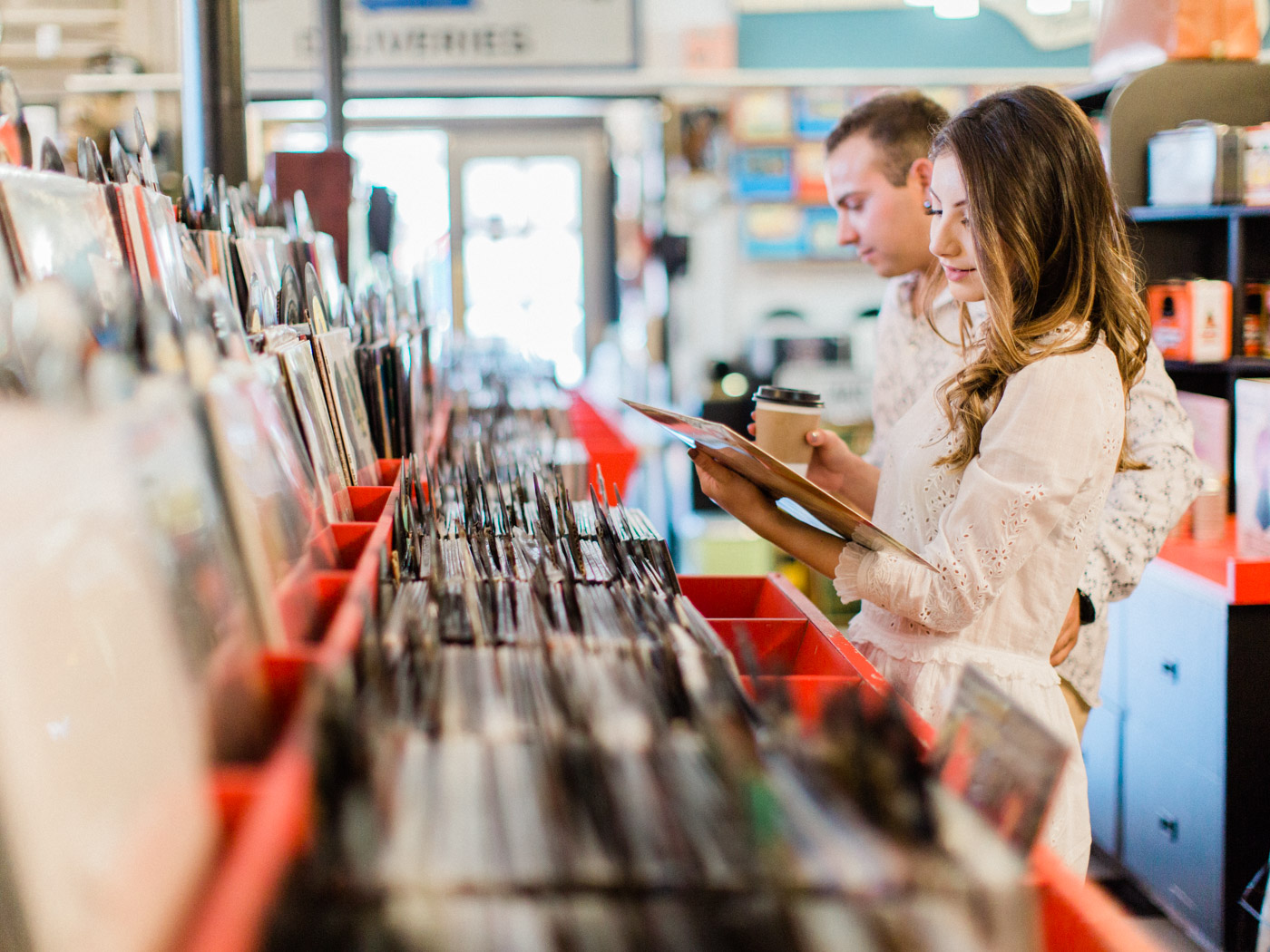 collingwood record shop engagement session with coffee and tacos