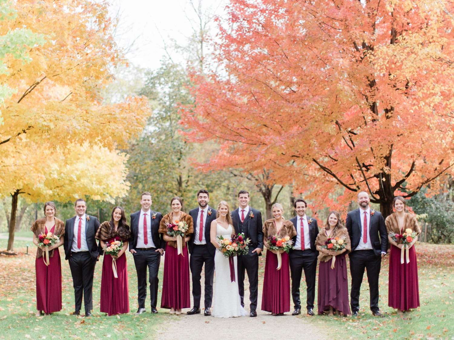 colourful fall wedding photography at craigleith ski club, collingwood