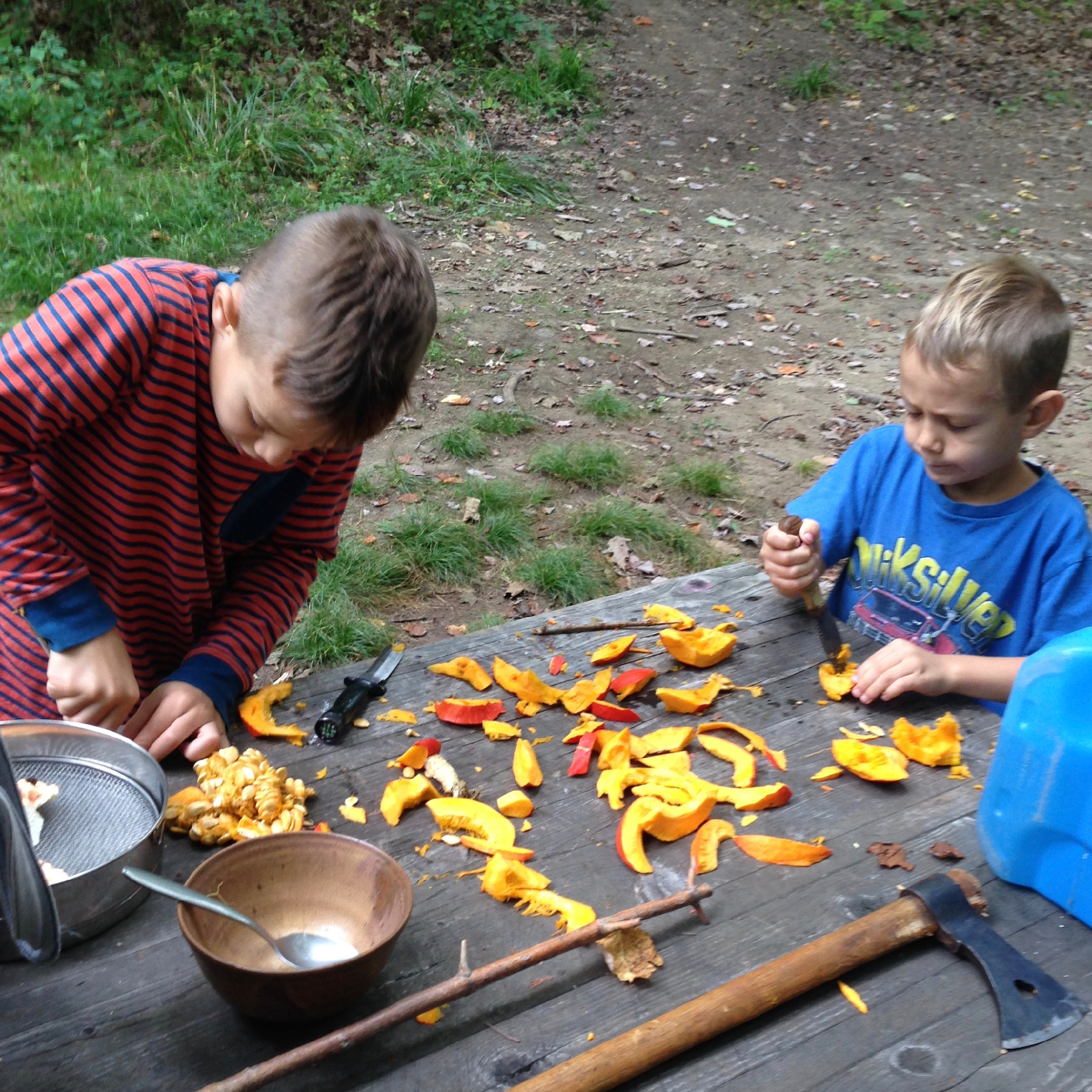 Preparing an uchiki curi squash from the Three Sisters Garden for sun drying on a string. The work went faster after the boys made up an uchiki curi chant.