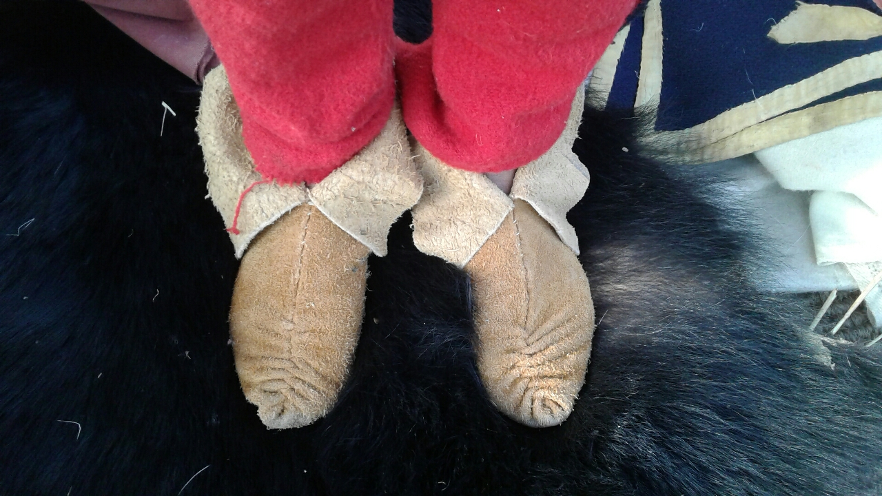 He also made these center-seam moccasins for himself