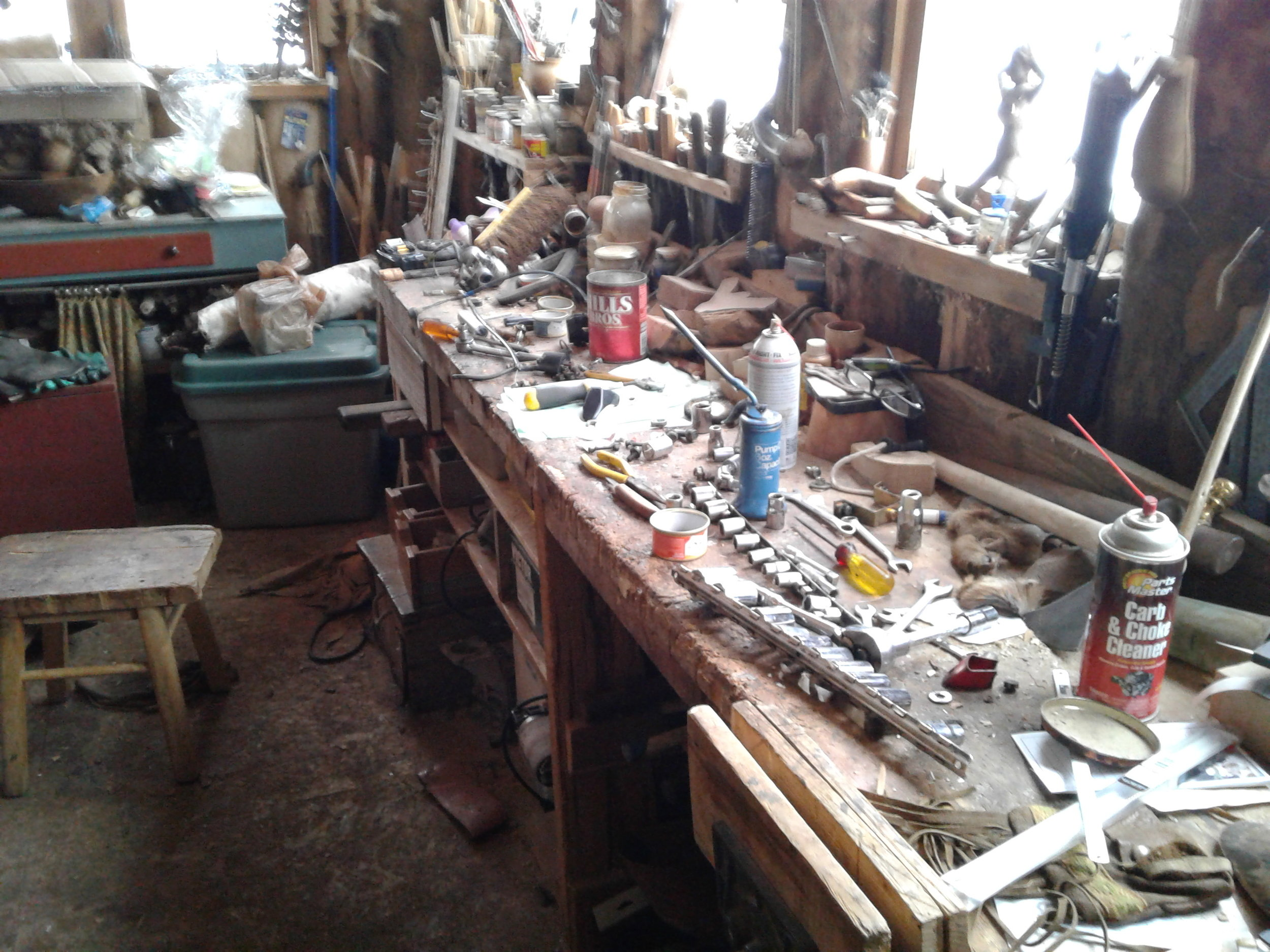 These are the tools we used to disassemble and reassemble the snowmobiles, a pretty busy place.