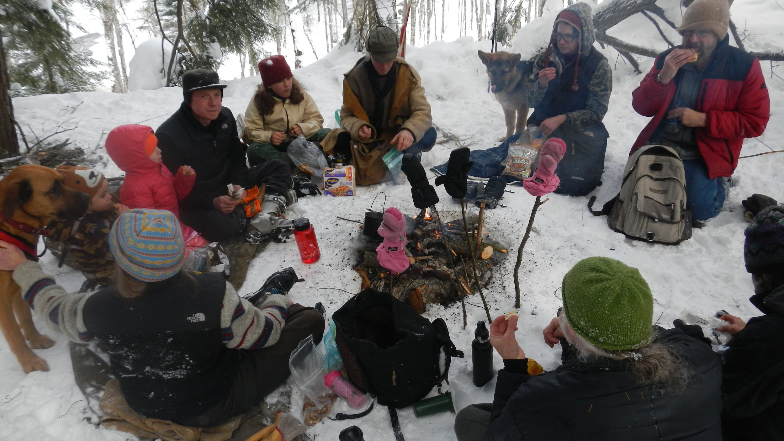 Lunch around the fire. Photo taken by Jay Johnson