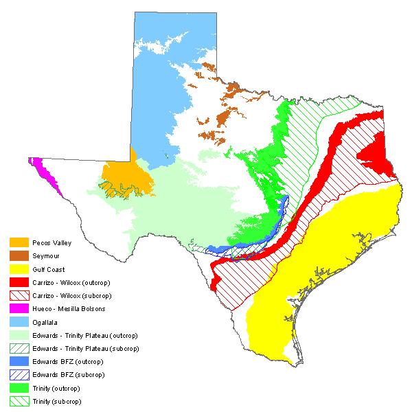 Map of major aquifers from the Texas Water Development Board.