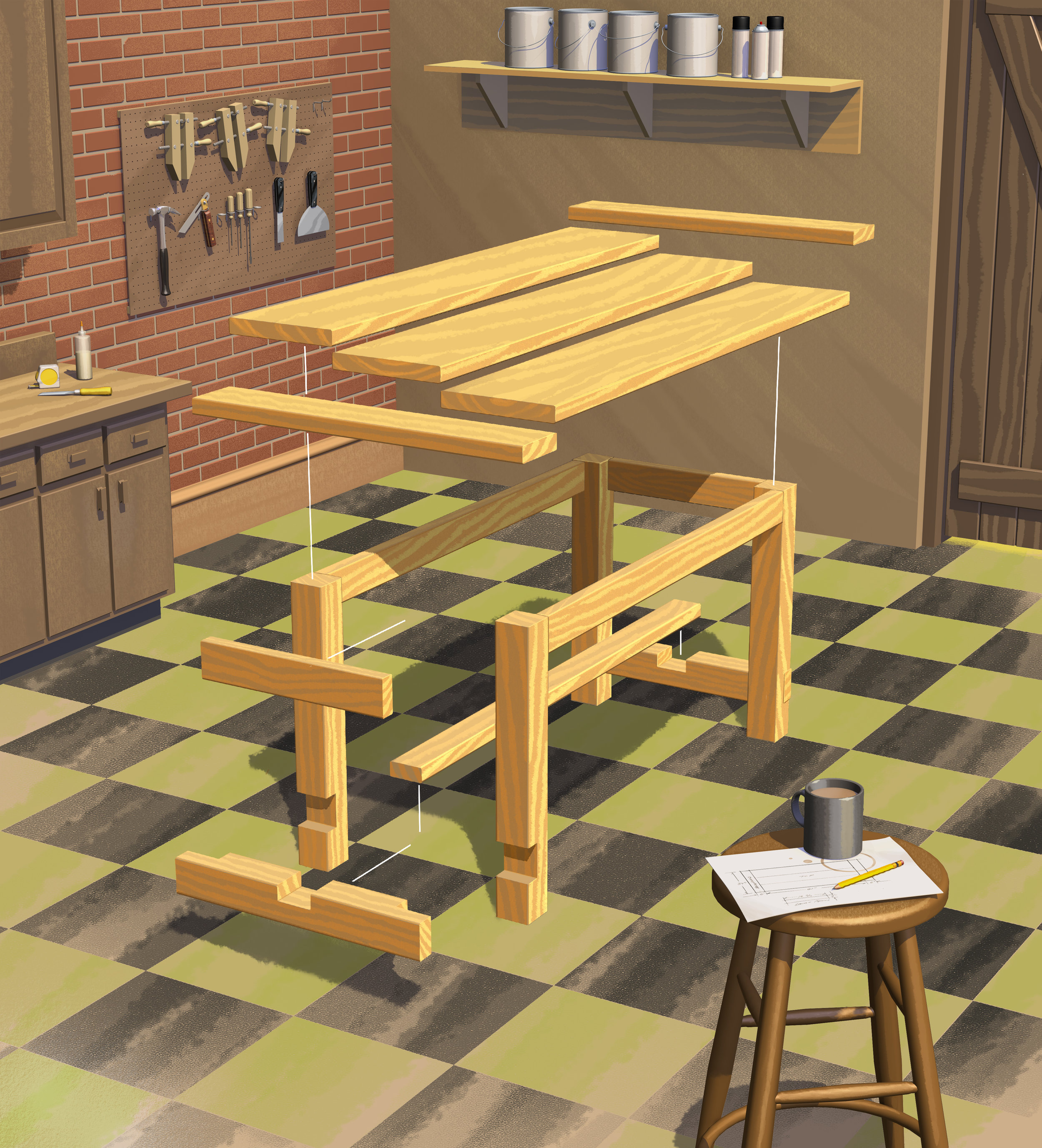 Farm House Table - explo view
