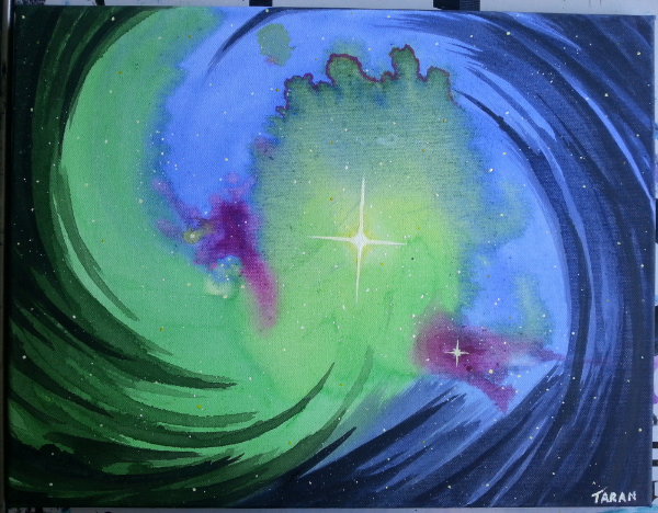 One of the paintings done with a lot of water and diluted paint. 'Swirling Star'