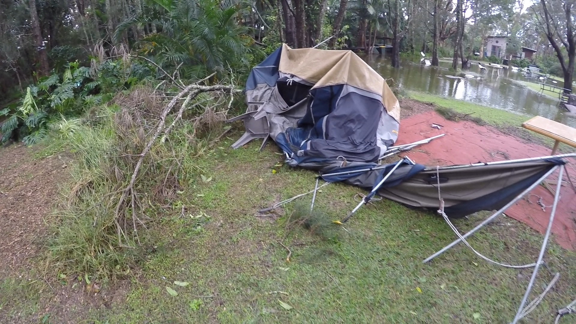 destroyed tent