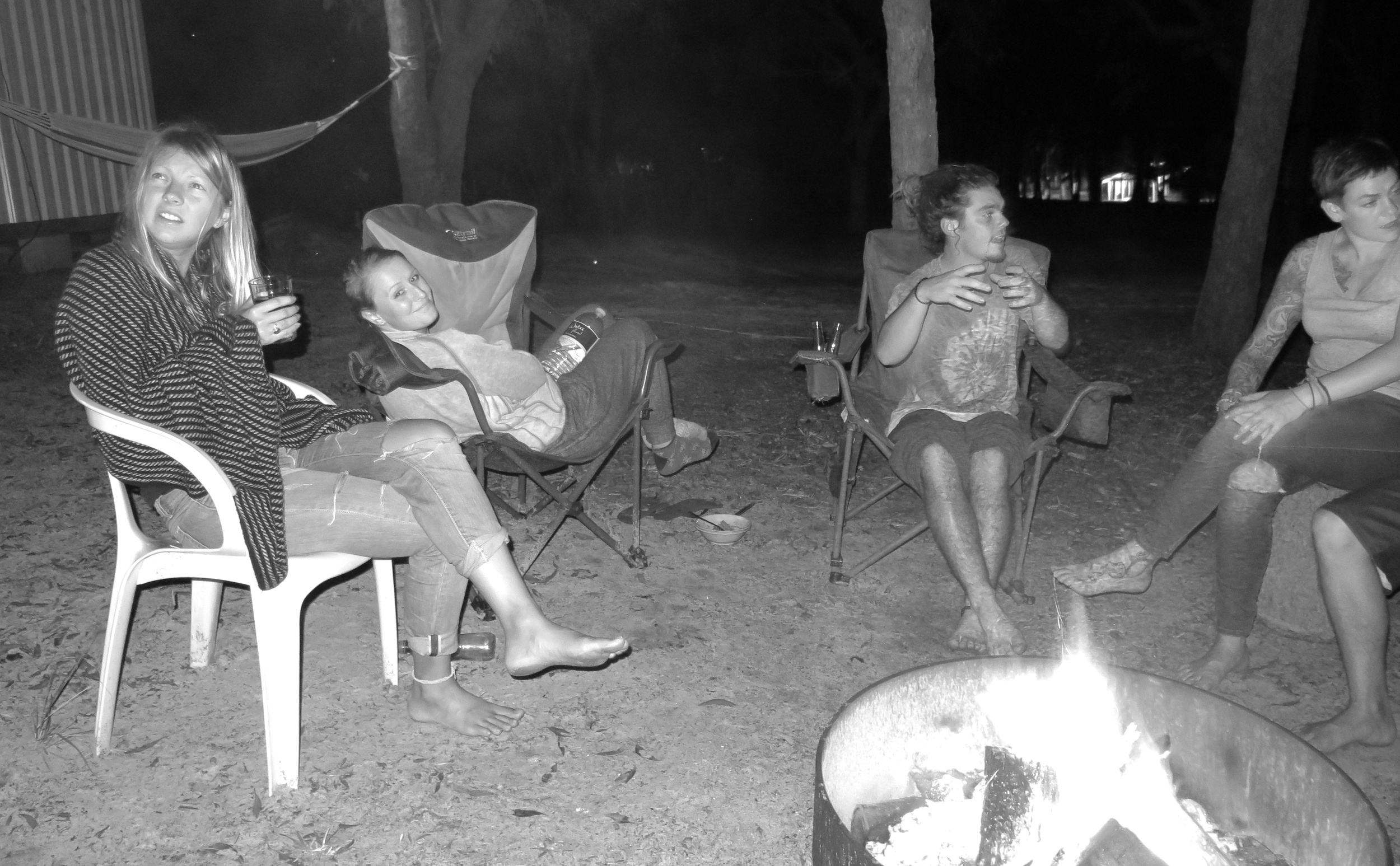 Chilling round the fire with our fellow islanders.