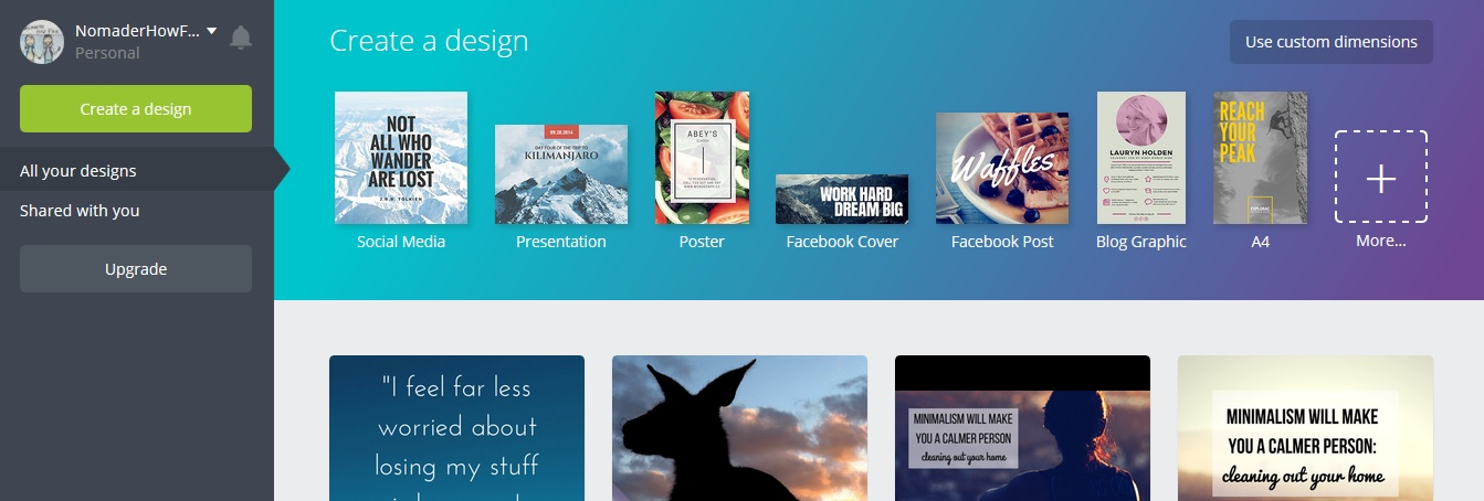 canva page my designs