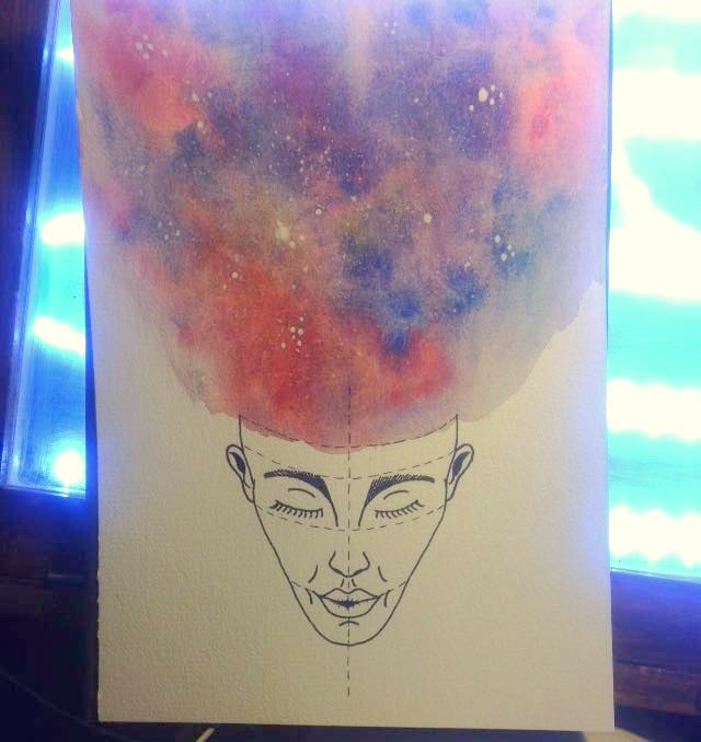 Our friend Tristan designed us the awesome cover! Here's the work in progress, watercolours n' all!