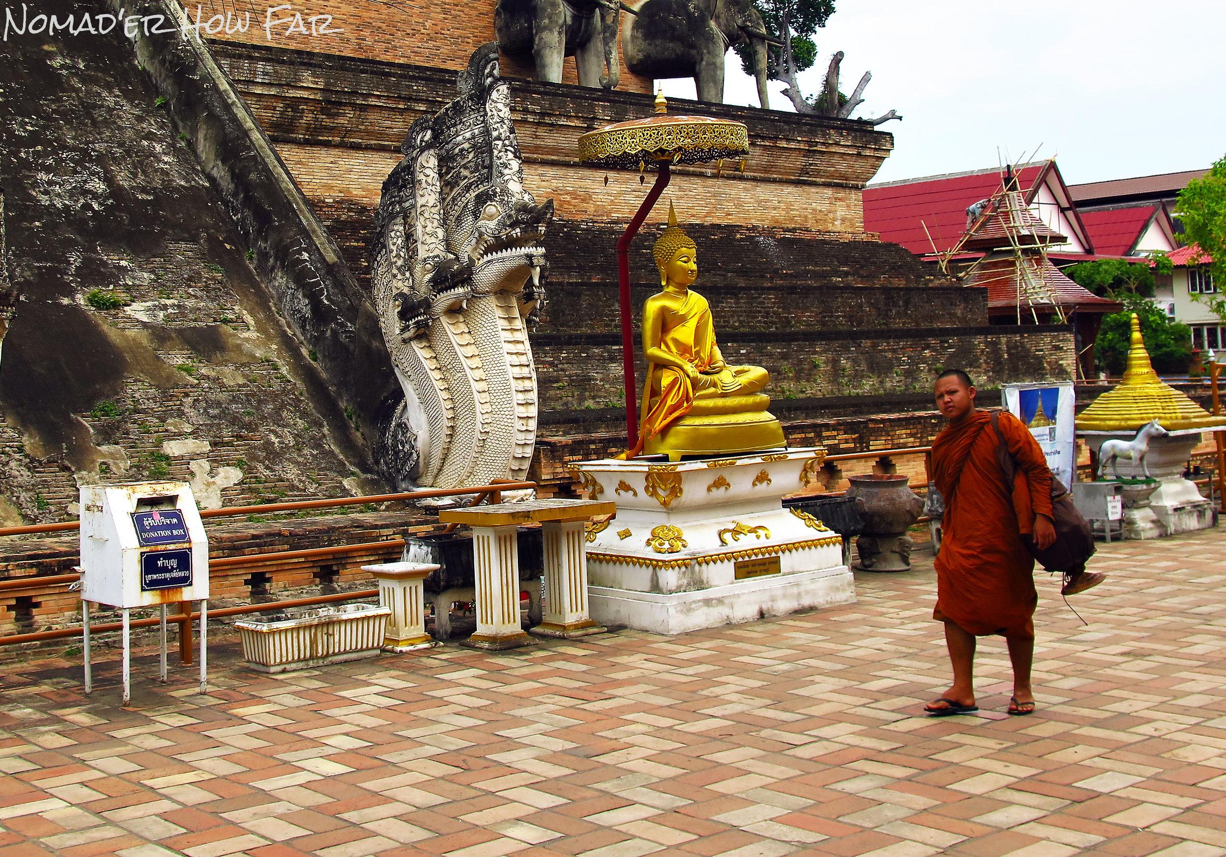 monk walking to class