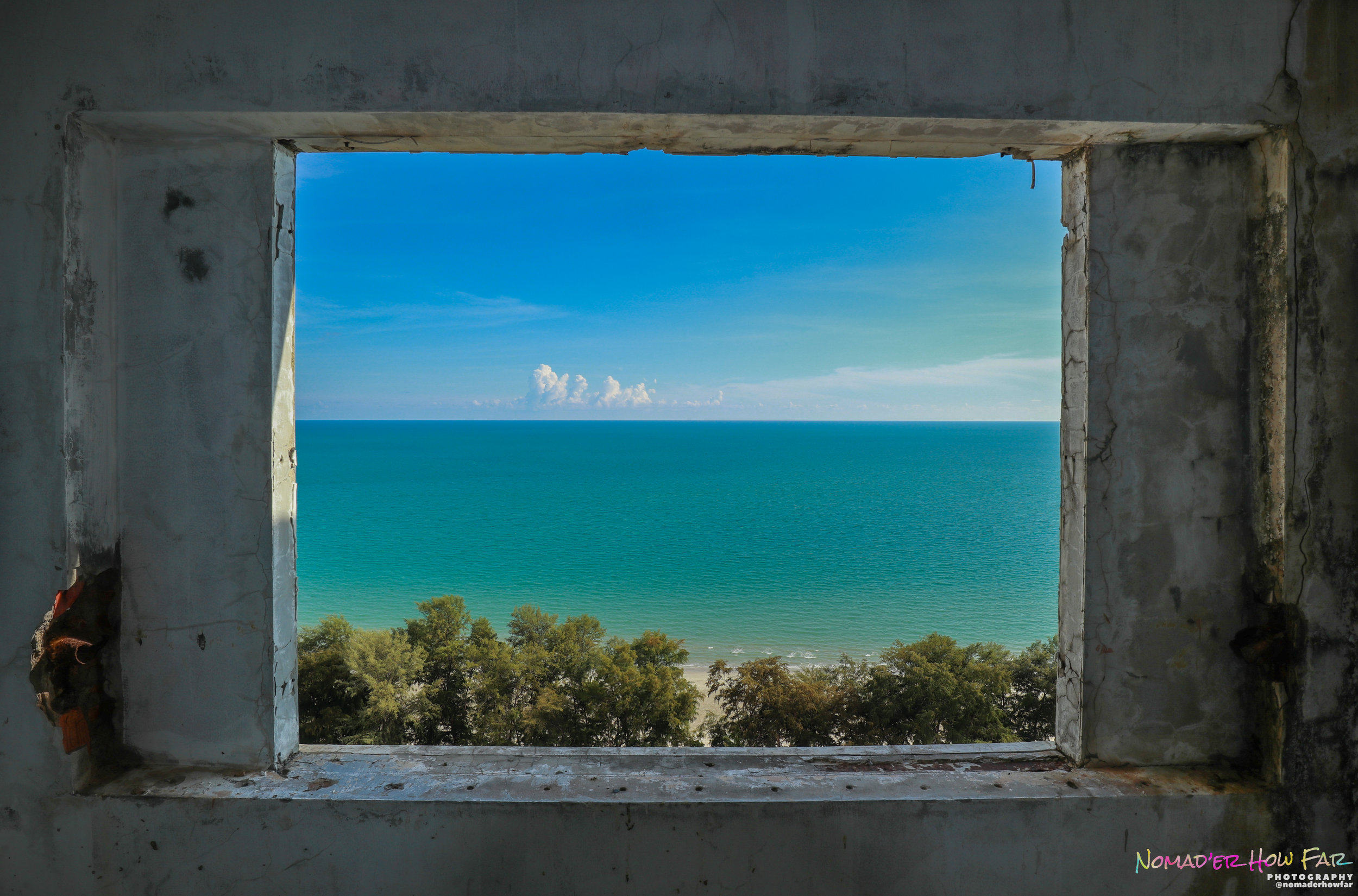window frame ocean view