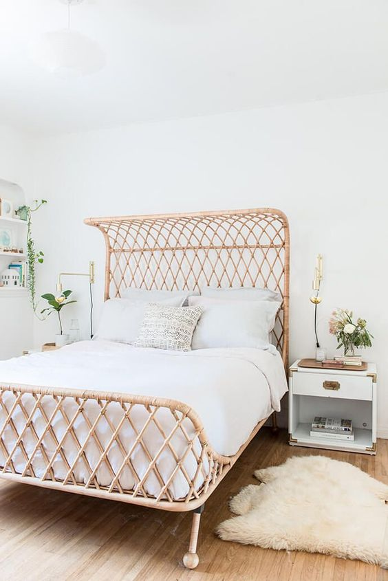 A rattan bed - WANT! Throughout these room photos, you are seeing rattan paired with white walls - because it just works! I love the open lattice rattan pattern of this bed against the fresh white wall. The rattan bed makes such an impact here, to keep the room serene the other elements are simple and solid. Me likey.