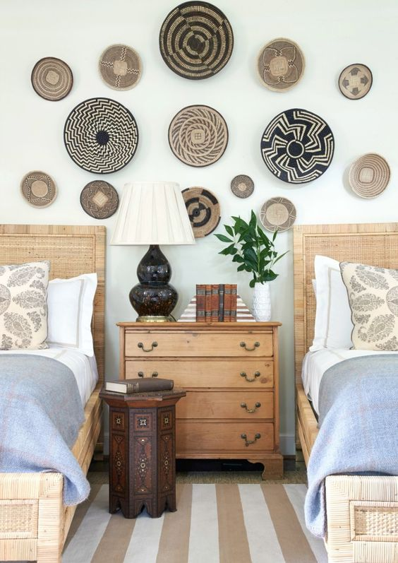 Traditional pieces pair great with rattan too. These simple beds flank a traditional chest so nicely. If the beds were solid wood too, the feeling would be heavy and change the feel of the room completely.