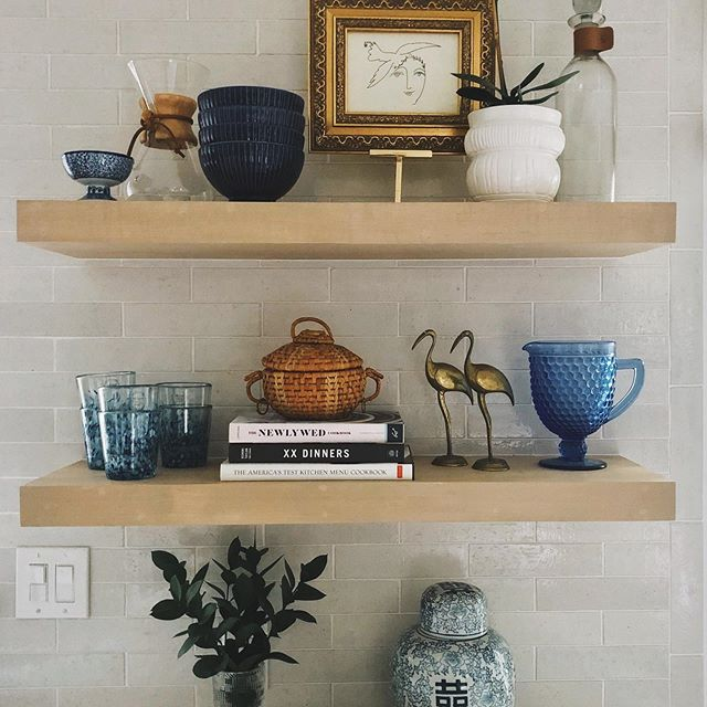 "Sooo I had some fun restyling my own kitchen shelves last week, and while doing so, realized that this process is not at all easy or instantaneous. If you've ever been on the struggle bus when it comes to accessorizing or styling your open shelves, I created a blog post for my top tips and tricks! (Link in profile)  I also filmed the process of styling these shelves... it's  saved to my Story Highlights under ""Shelves"". Send me a dm photo to show me your own shelf styling progress! I'd love to help you with ideas and advice."