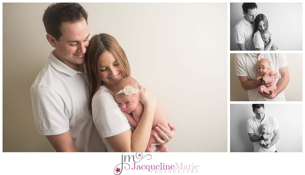 Newborn baby photographer in columbus ohio offer portraits and newborn packages with images of mother and father holding baby