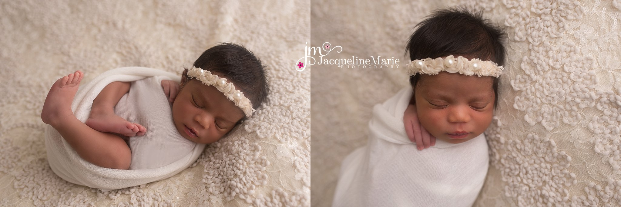 Newborn baby girl is swaddled in cream wrap with matching headband for newborn pictures in Columbus Ohio