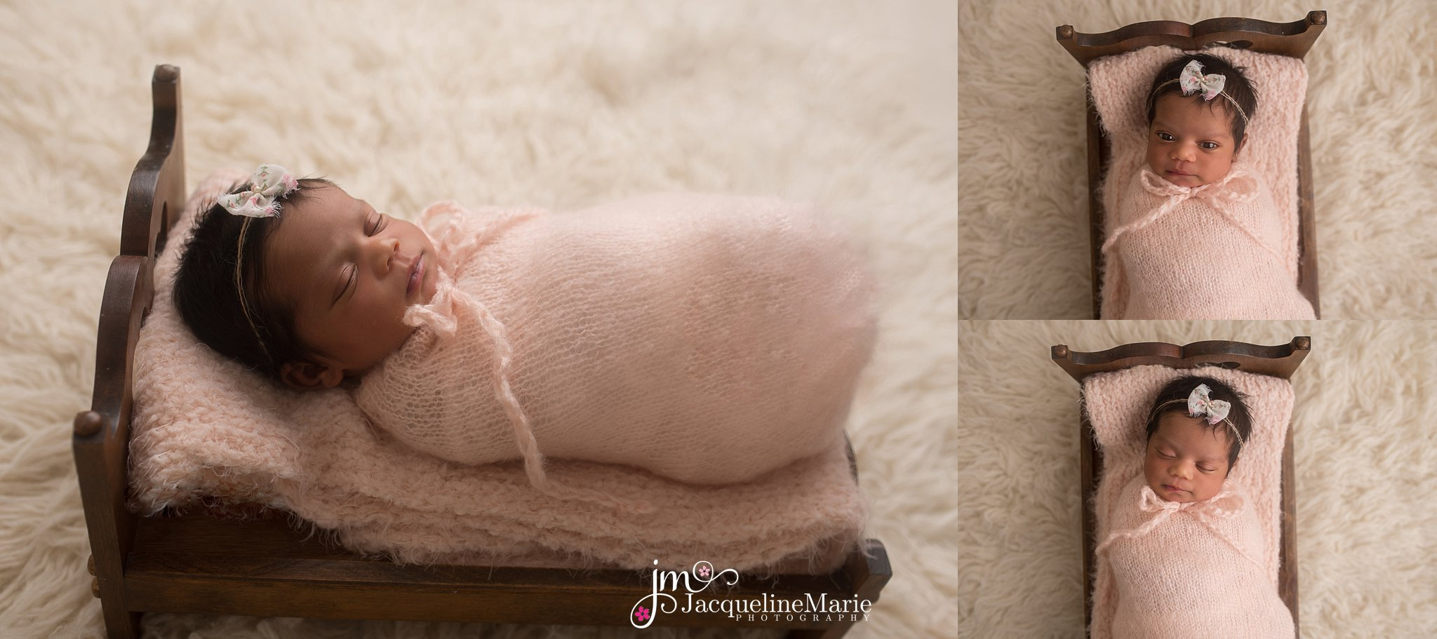 newborn baby girl is swaddled in pink wrap on wood bed for newborn pictures in columbus ohio