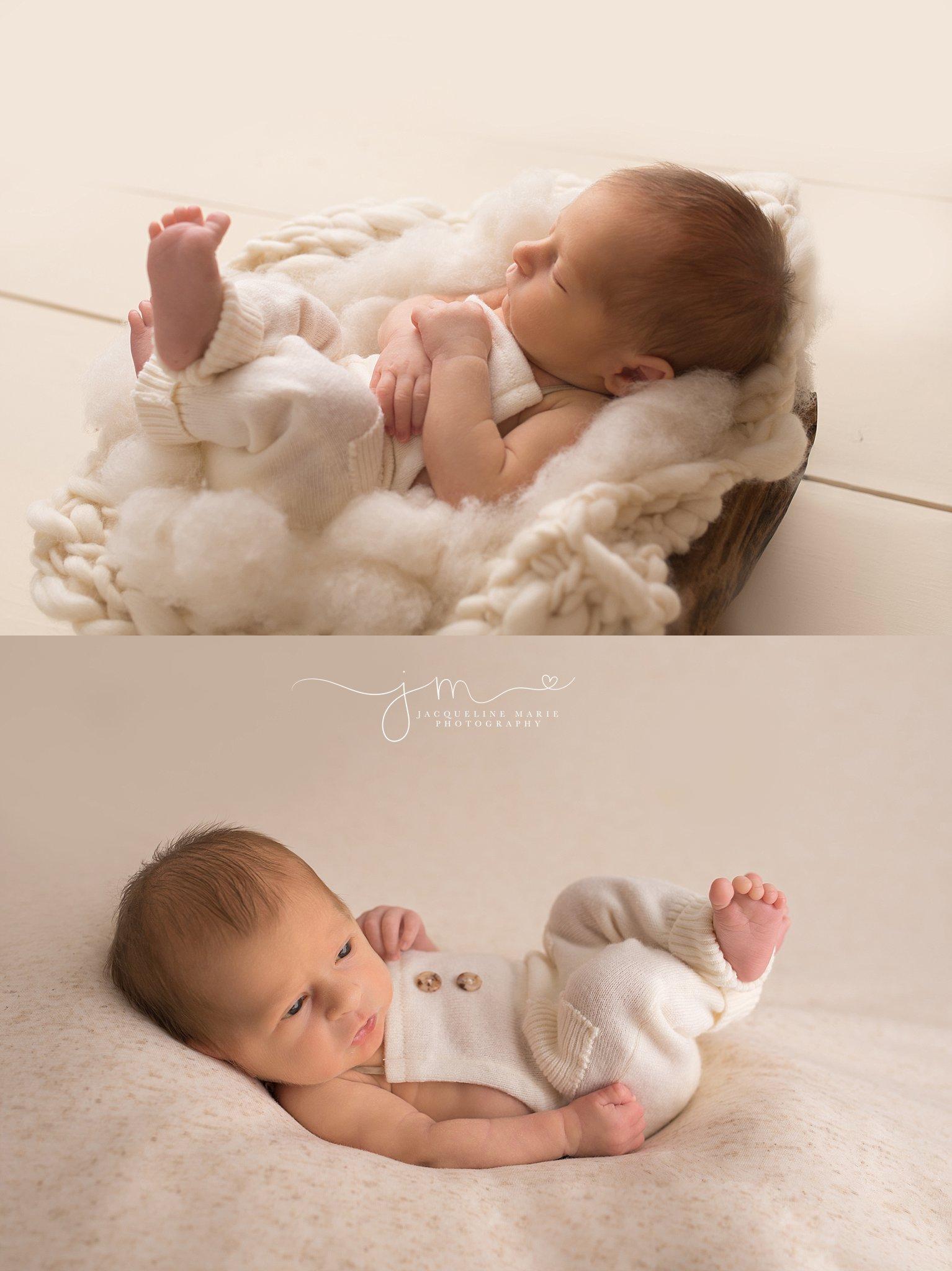 Newborn baby boy is awake with eyes open for newborn portraits in Columbus Ohio