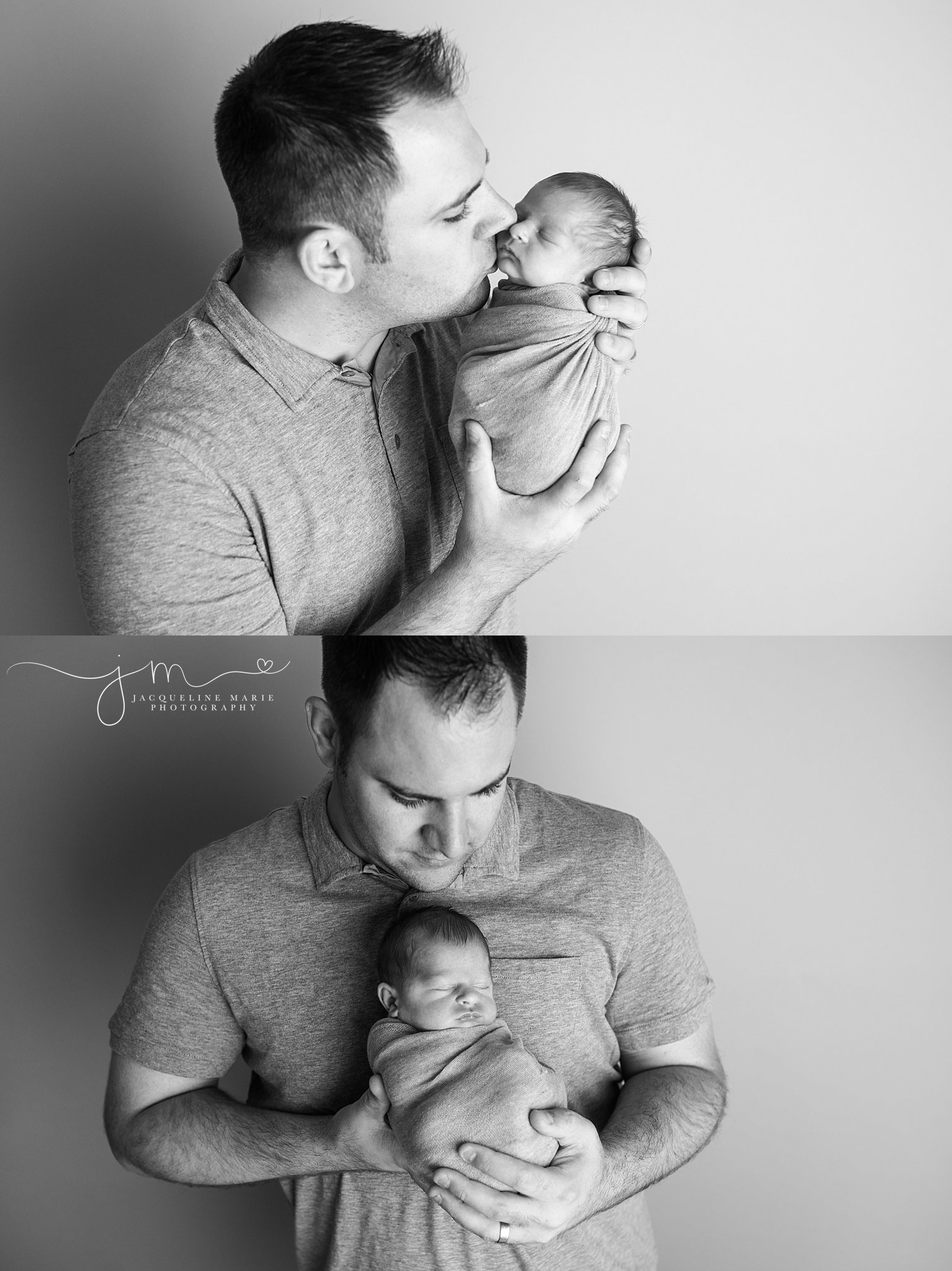 Father holds newborn baby boy for newborn session in Columbus Ohio