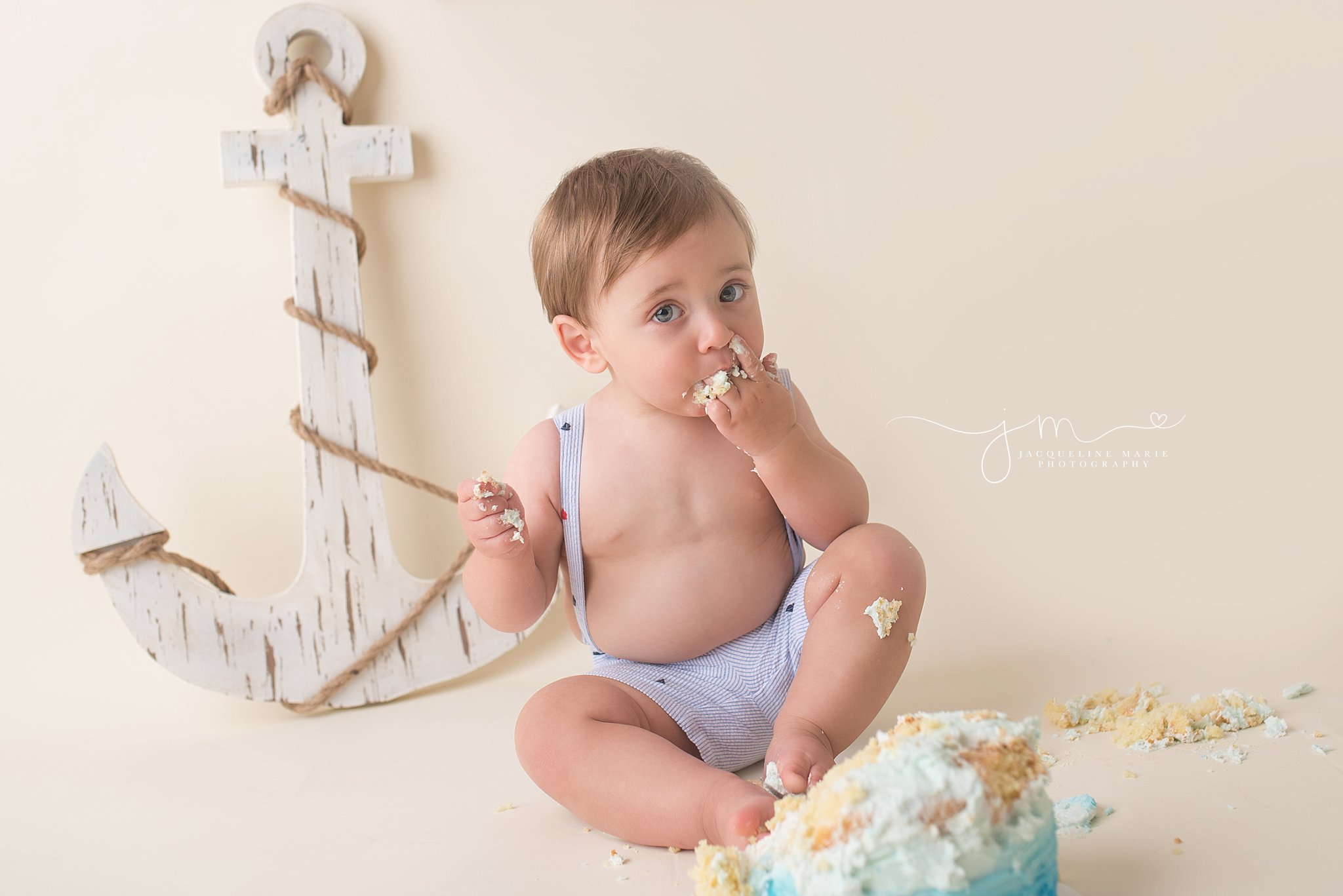 cake smash session, baby boy first birthday, nautical theme birthday, Columbus baby photographer