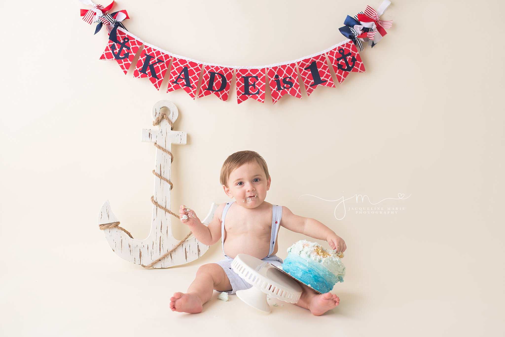 Columbus Ohio photographer, cake smash, nautical first birthday