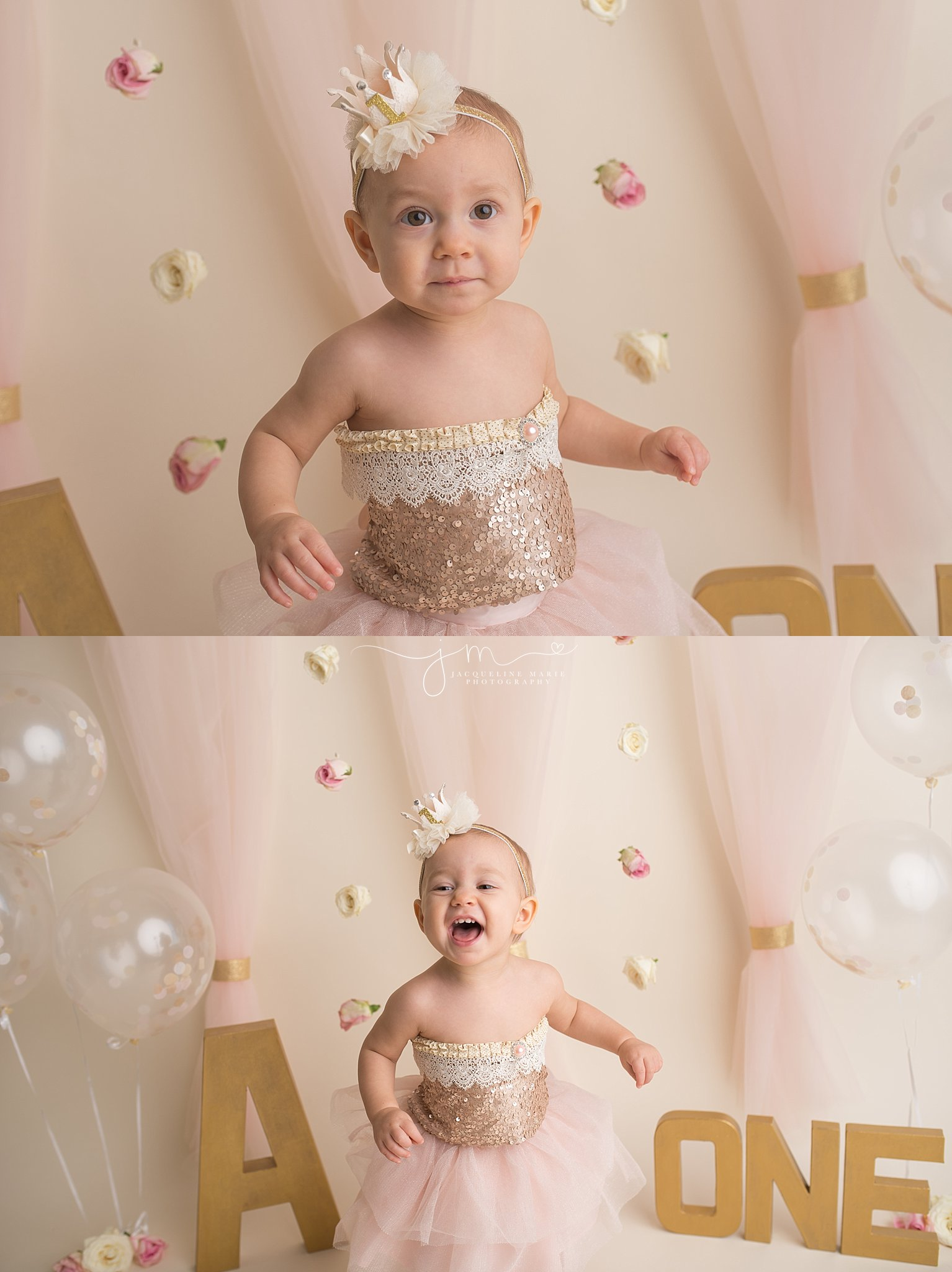 Columbus Ohio baby photographer, Columbus first birthday photographer, Cake smash session, pink and gold first birthday, pink and gold cake smash