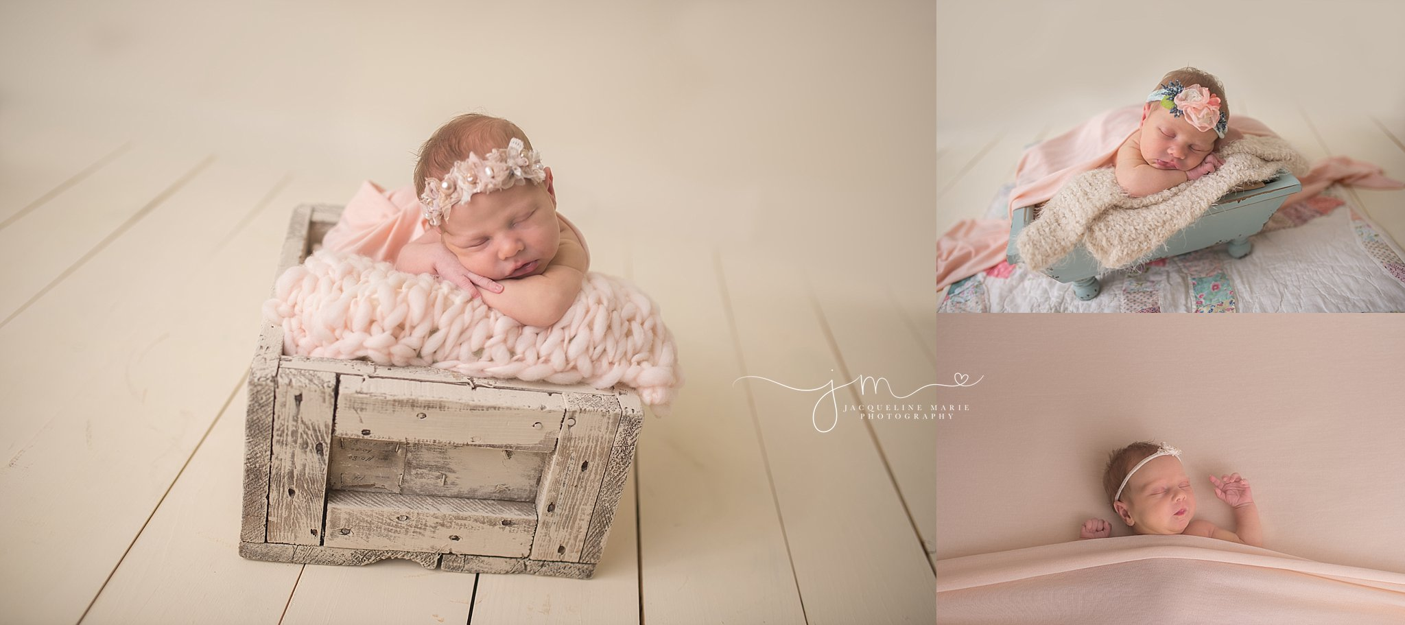 Soft pastel colors are featured in newborn portrait with two week old newborn at Jacqueline Marie Photography in Columbus Ohio
