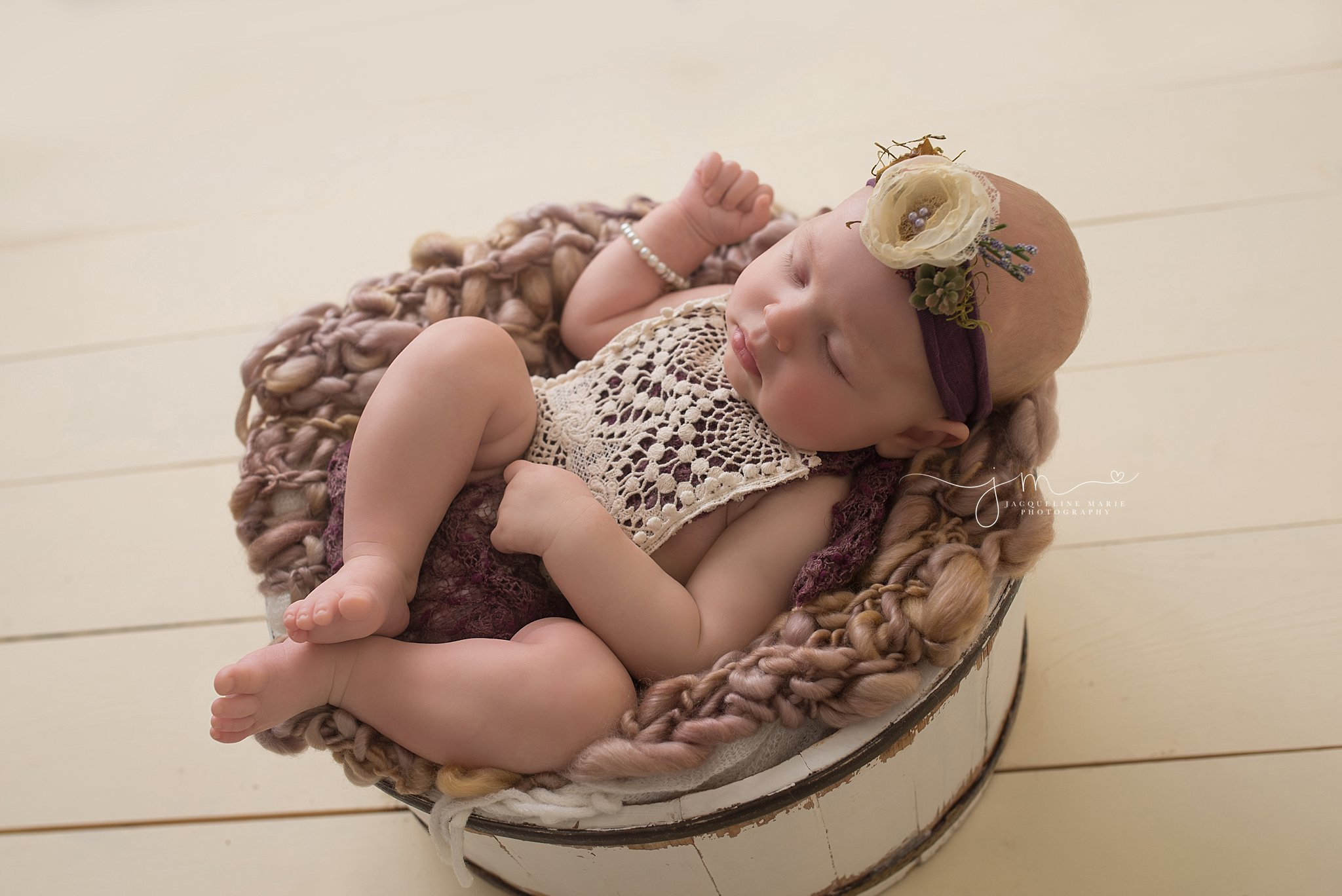 3 month old milestone portrait features baby girl with purple beaded headband at Jacqueline Marie Photography in Columbus Ohio