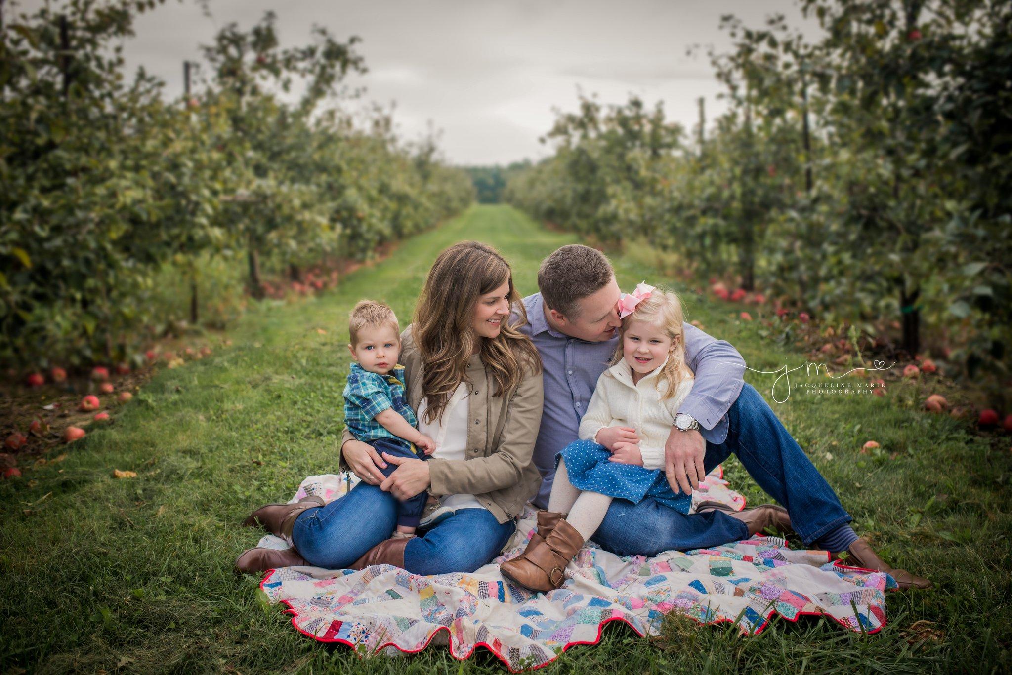 Columbus Ohio family photographer, Columbus family photography, apple orchard session, fall family portraits Columbus, Columbus Ohio photographer, family of four pose