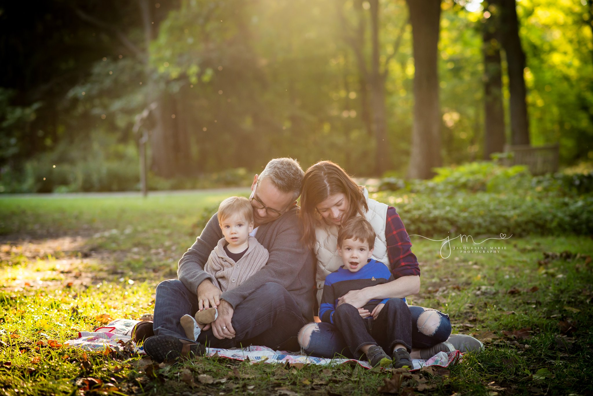 Columbus family photographer, Columbus Ohio photographer, fall family portraits, outdoor family photography, family of four pose