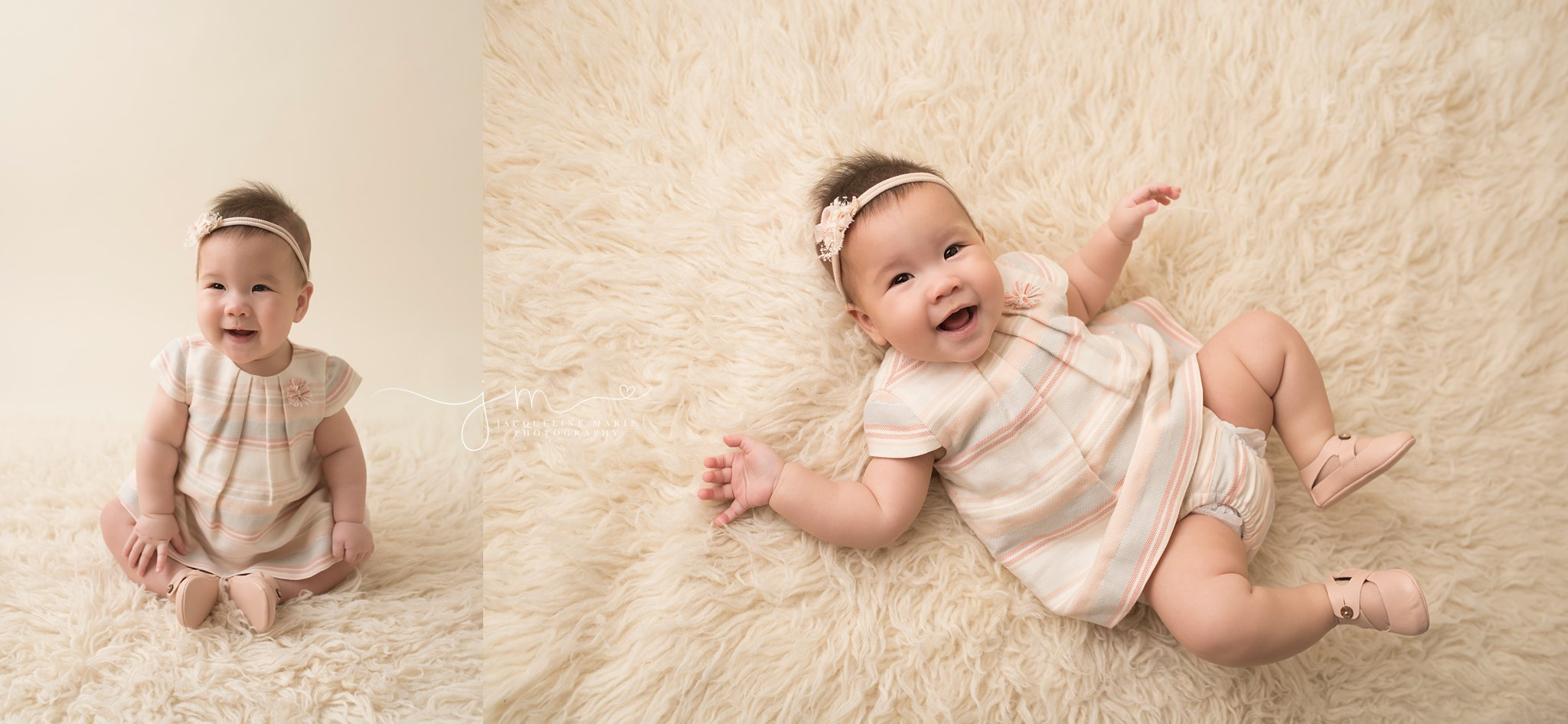 6 month old baby girl smiles for baby photography pictures while wearing pastel stripe dress on cream rug in columbus ohio