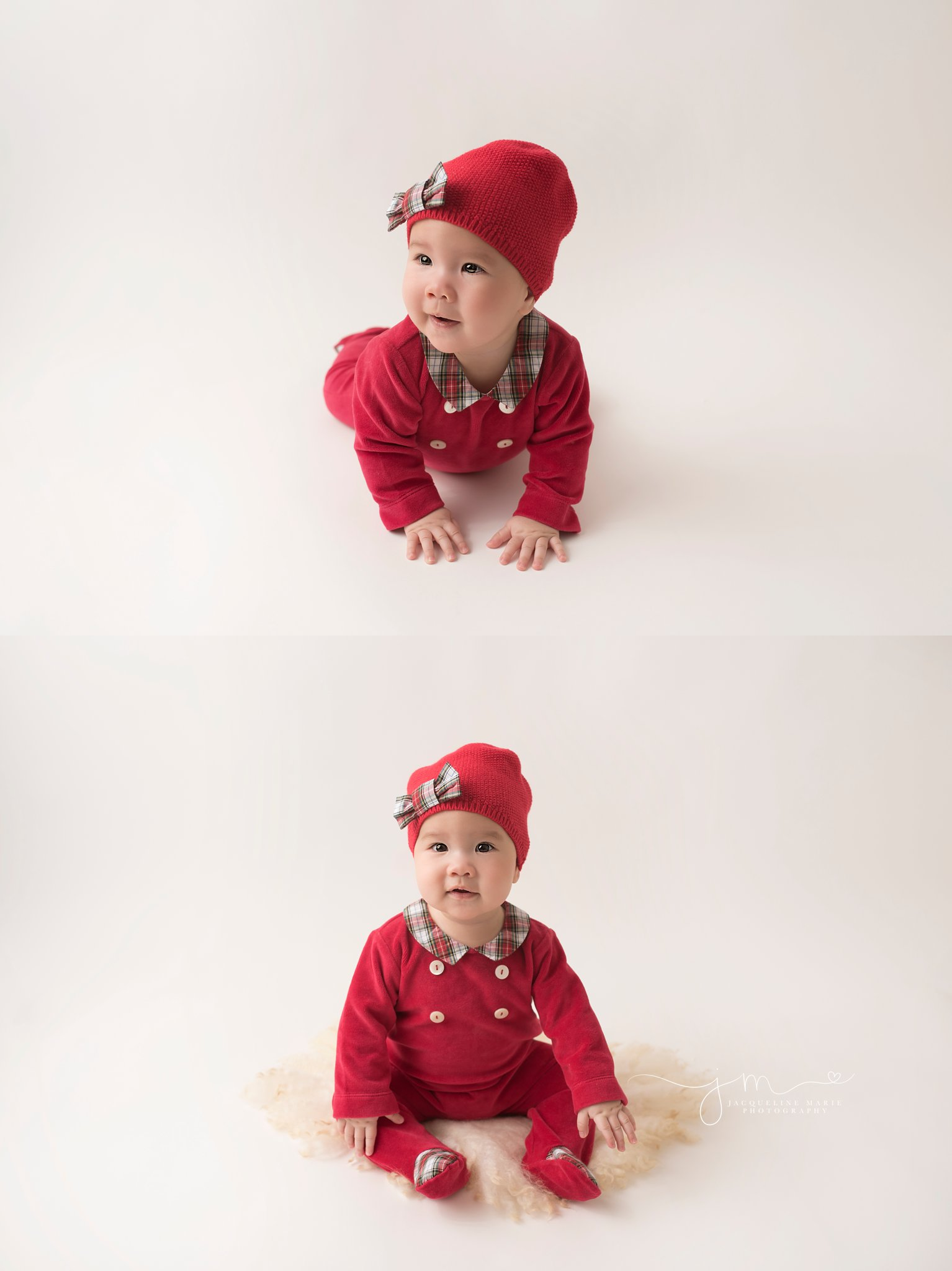 columbus ohio baby girl wears red romper and matching hat for baby photography by jacqueline marie photography