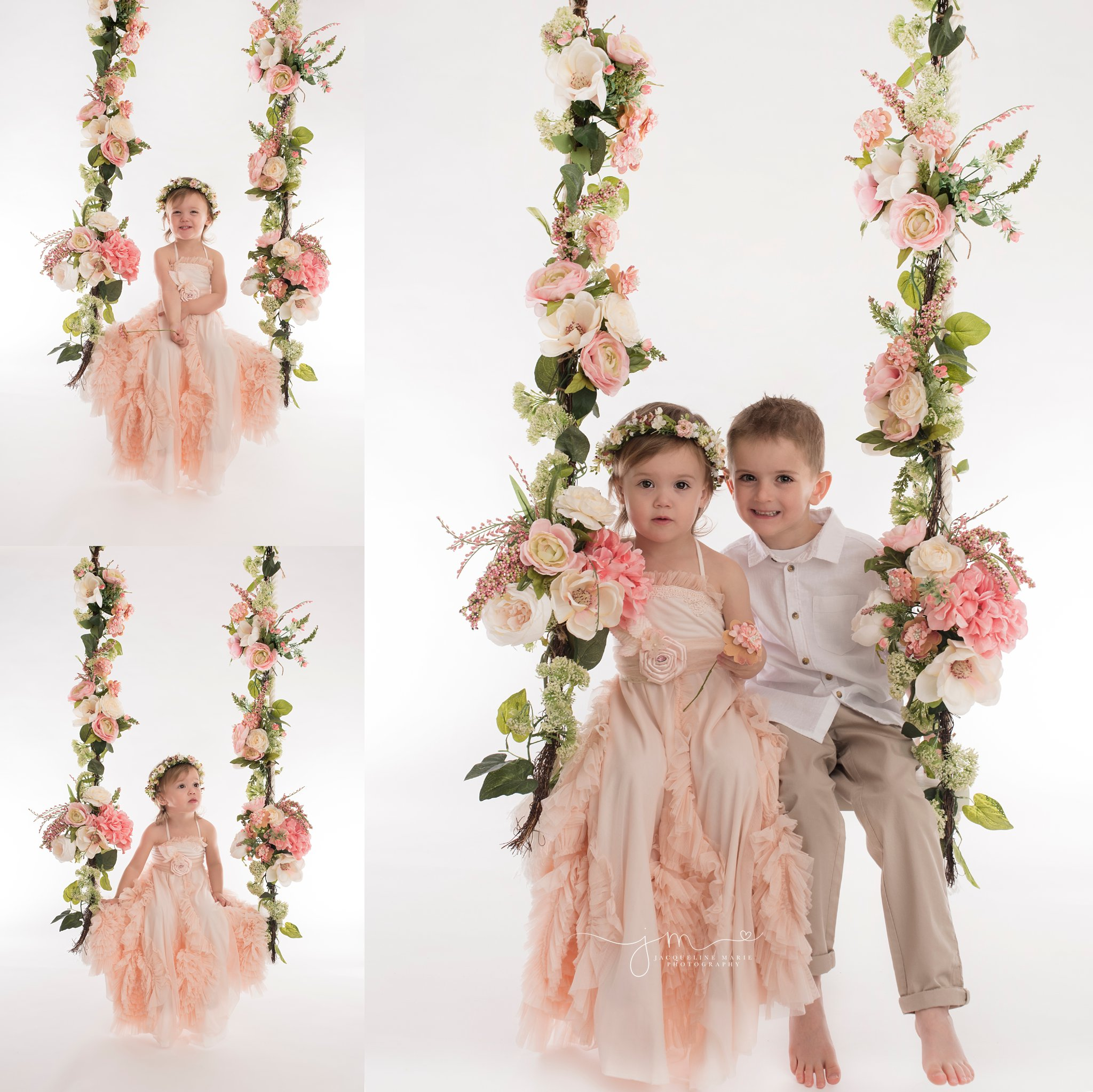 columbus ohio children photographer features image of brother and sister sitting on floral swing in portrait studio