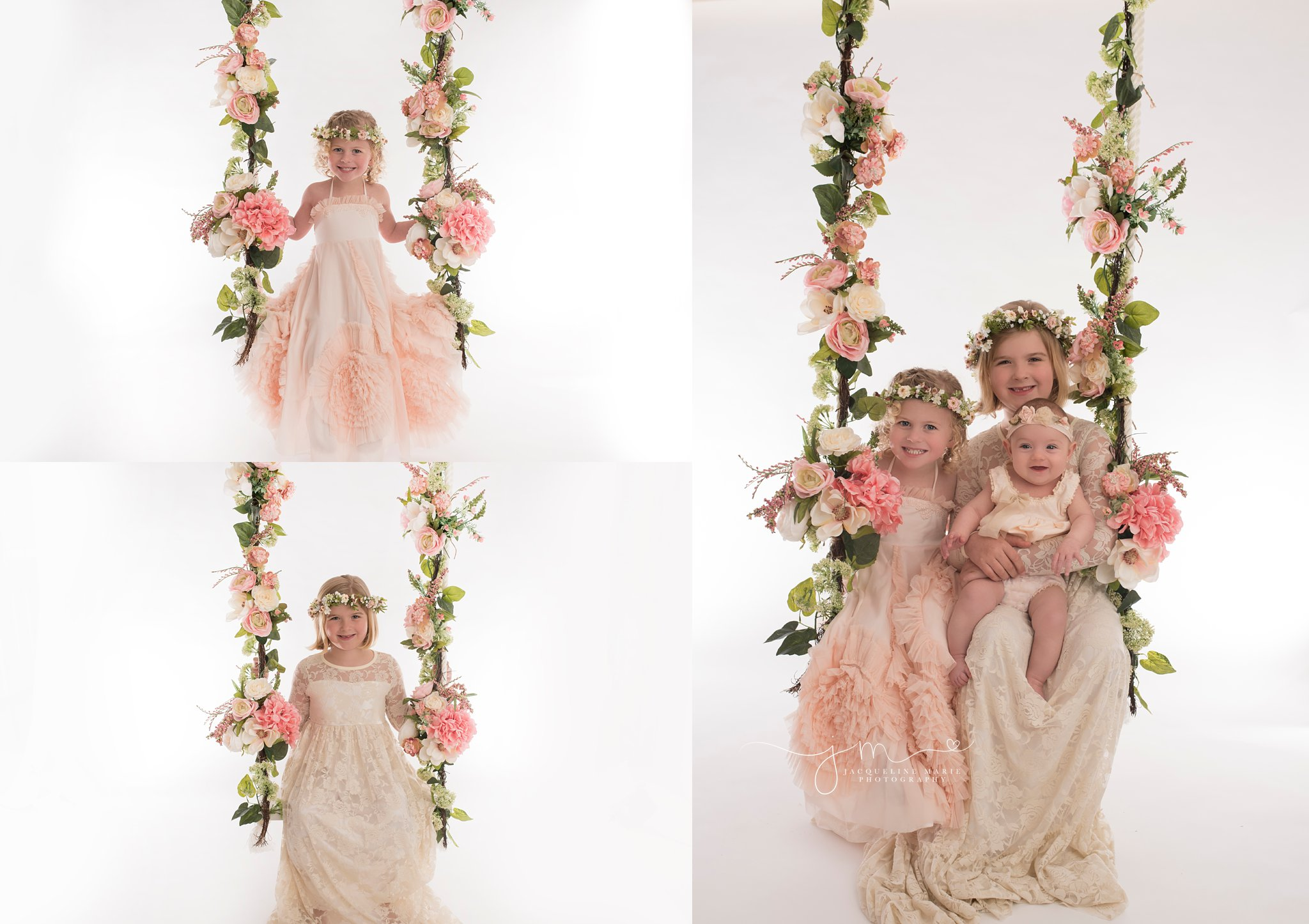 columbus ohio children photographer offers tree swing portraits wth pink flowers