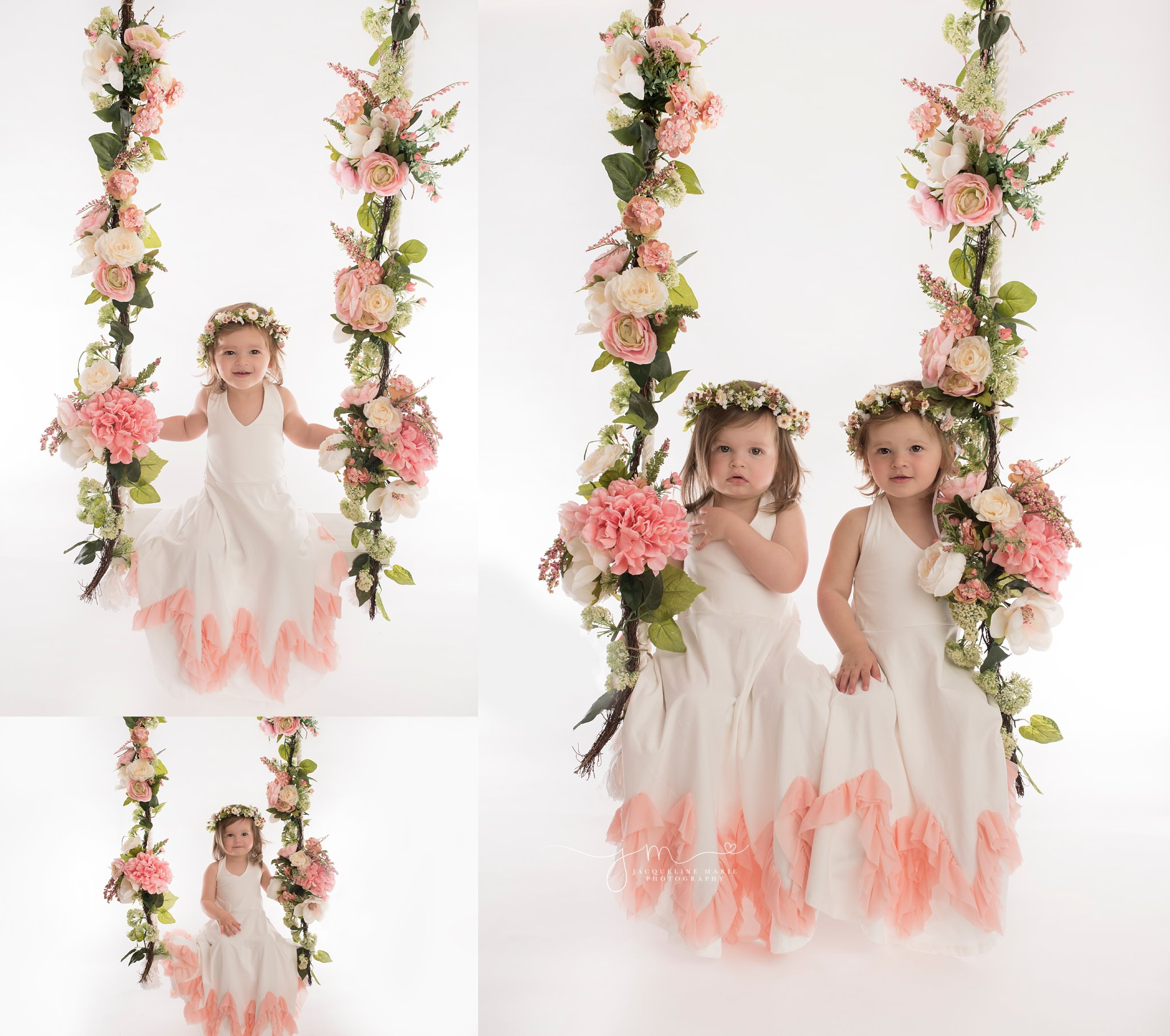 twin sisters wear white and pink dresses with pink floral crowns while sitting on floral swing in columbus ohio