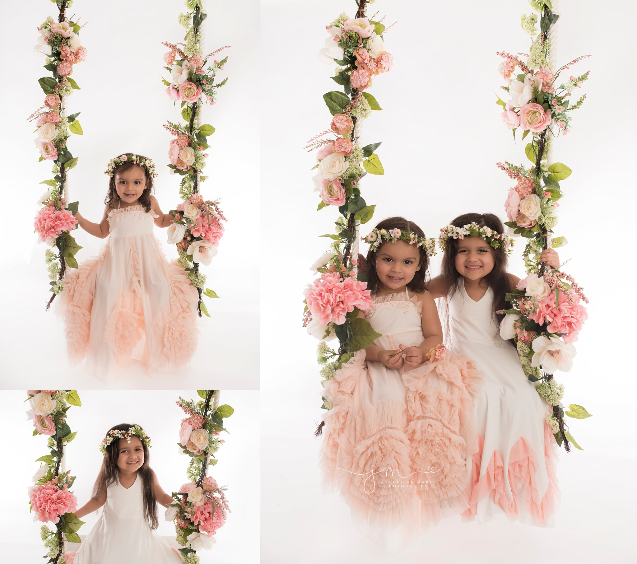 two beautiful sisters wear long ruffle dresses for portrait session in columbus ohio at jacqueline marie photography studio