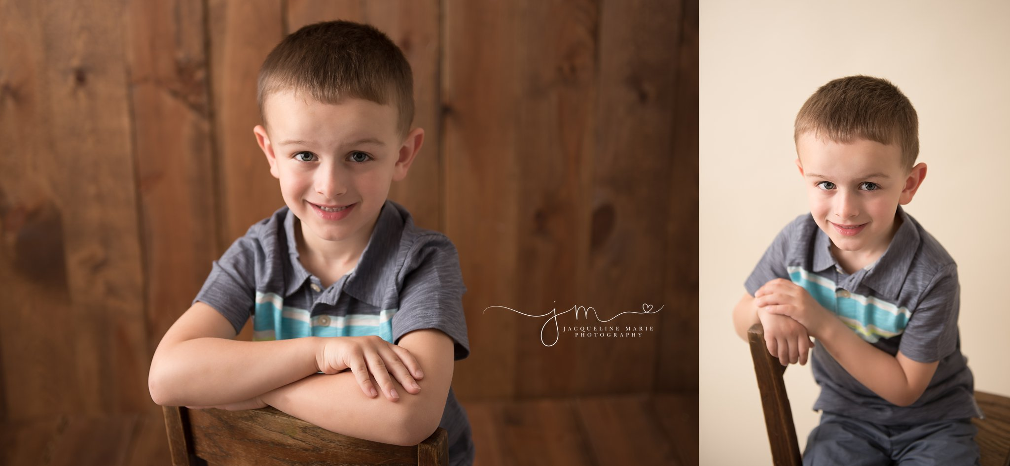 columbus ohio 5 year old boy wears striped polo while sitting on wood chair for milestone photography portraits by jacquekline marie photography
