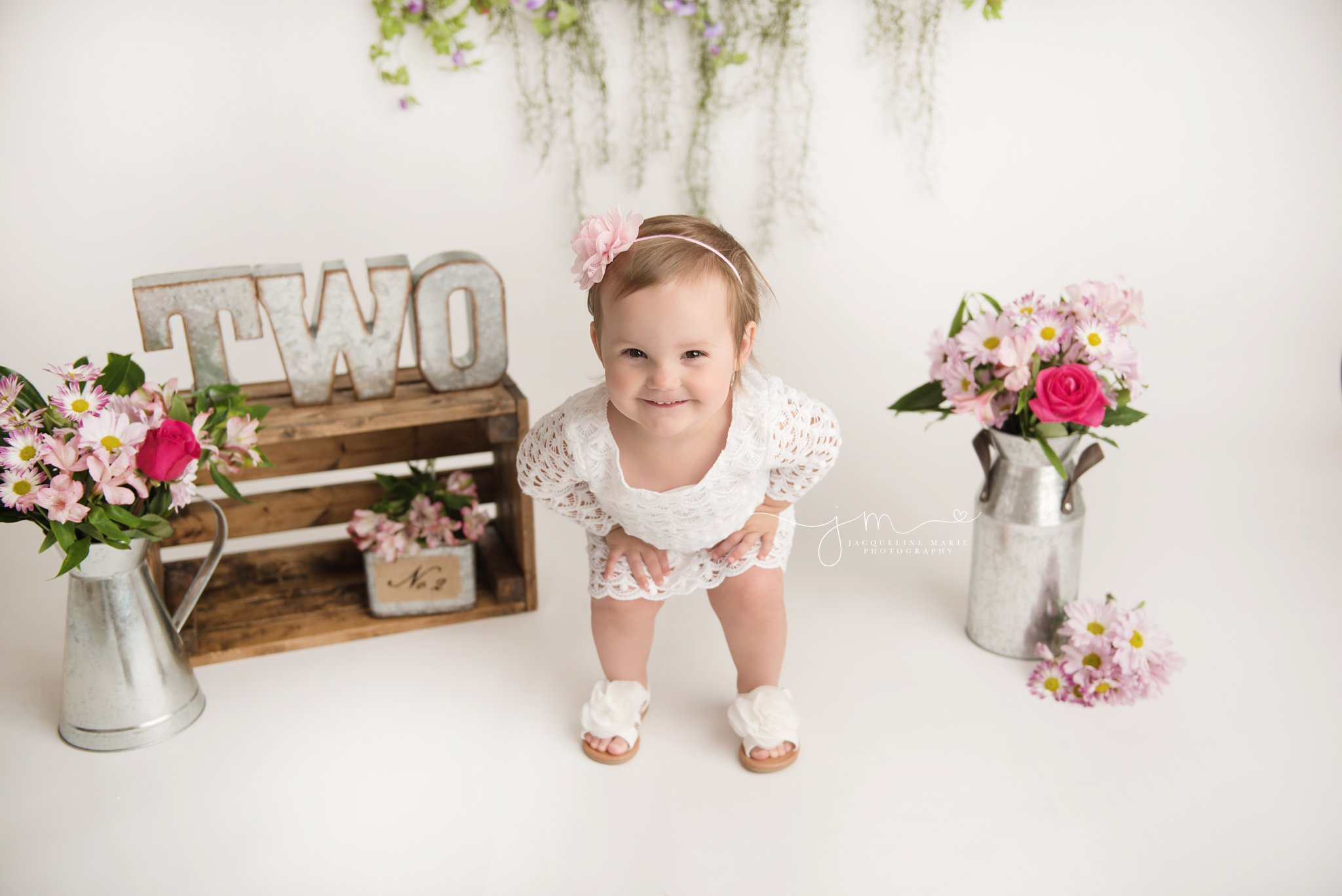 columbus ohio children and baby photographer features 2 year old little girl wearing white lace dress for birthday portraits