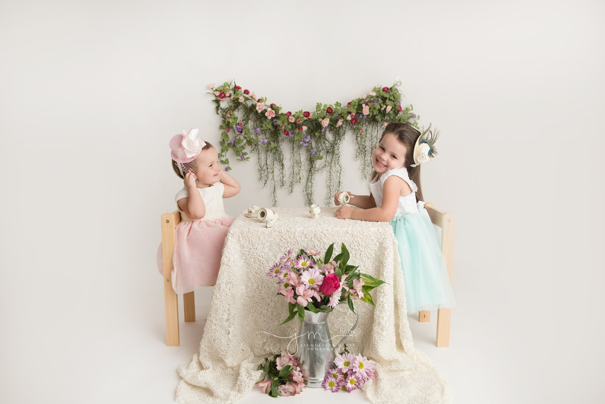 jacqueline marie photograpy in columbus ohio features vintage tea party for sisters
