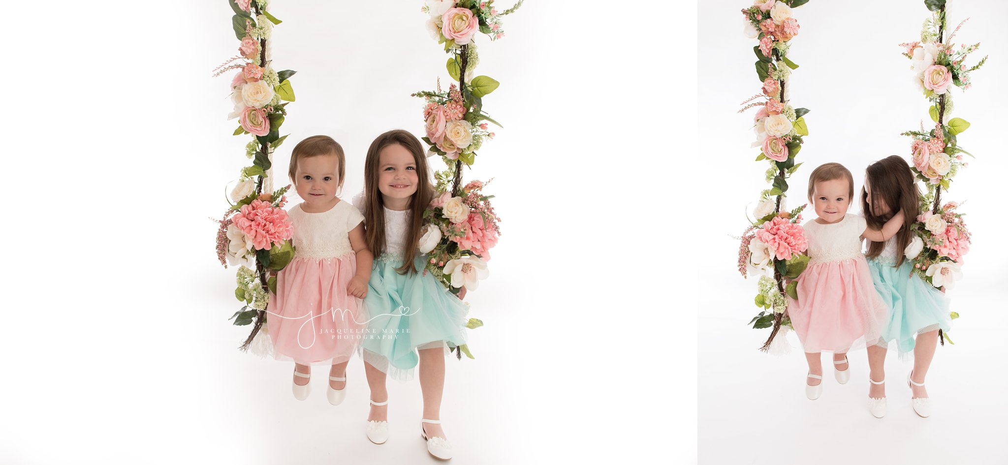 columbus ohio sisters wear dresses while sitting on floral swing for sibling photography portraits