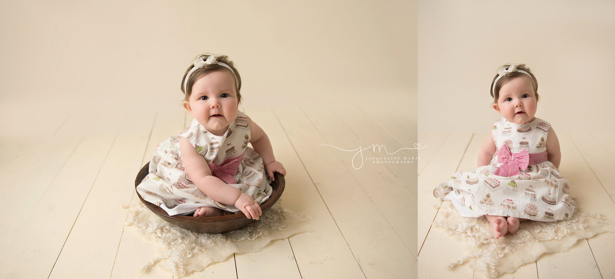 6 month old baby sits in wooden bowl and wears dress with cupcakes on it in columbus ohio for baby milestone pictures