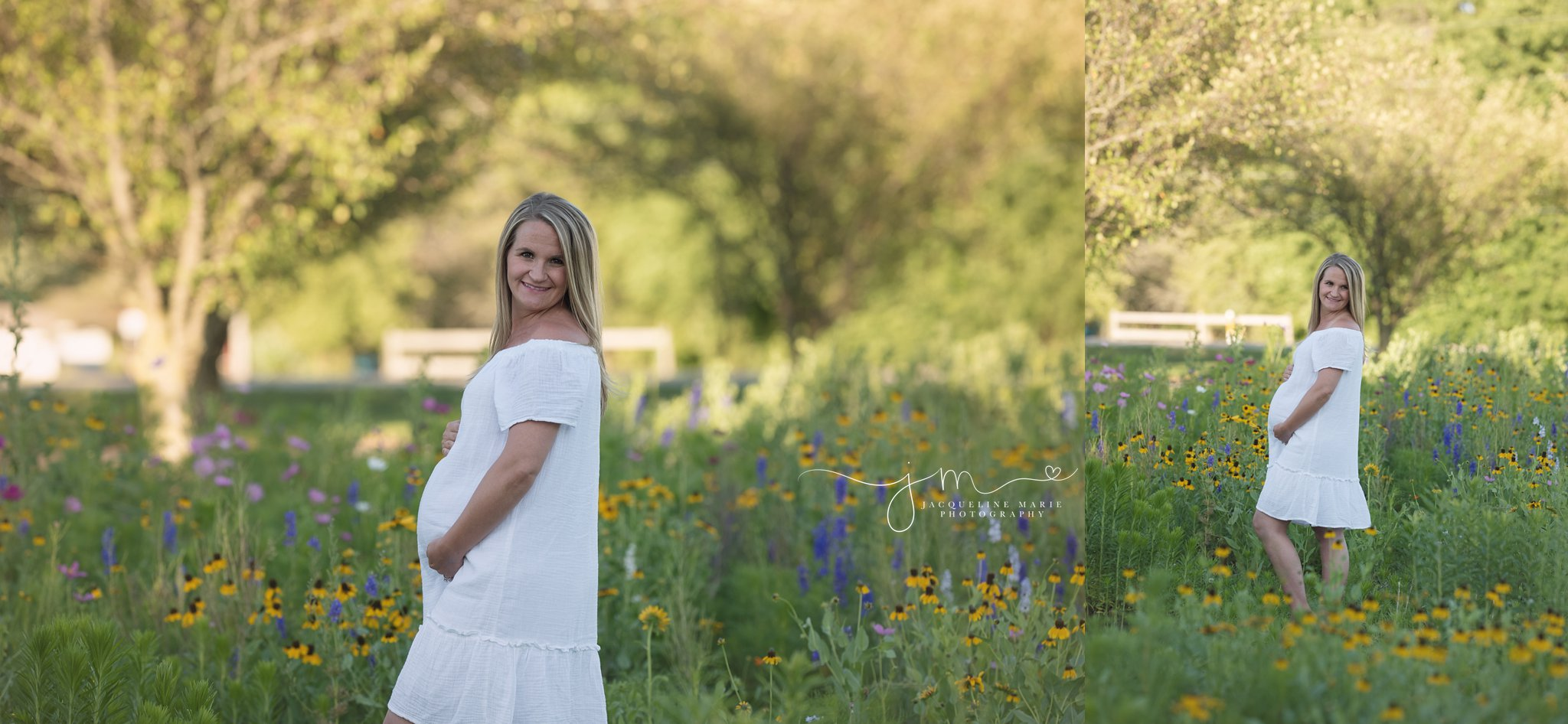 beautiful mother to be wears a white dress in a field of yellow flowers in columbus ohio for maternity and pregnancy pictures